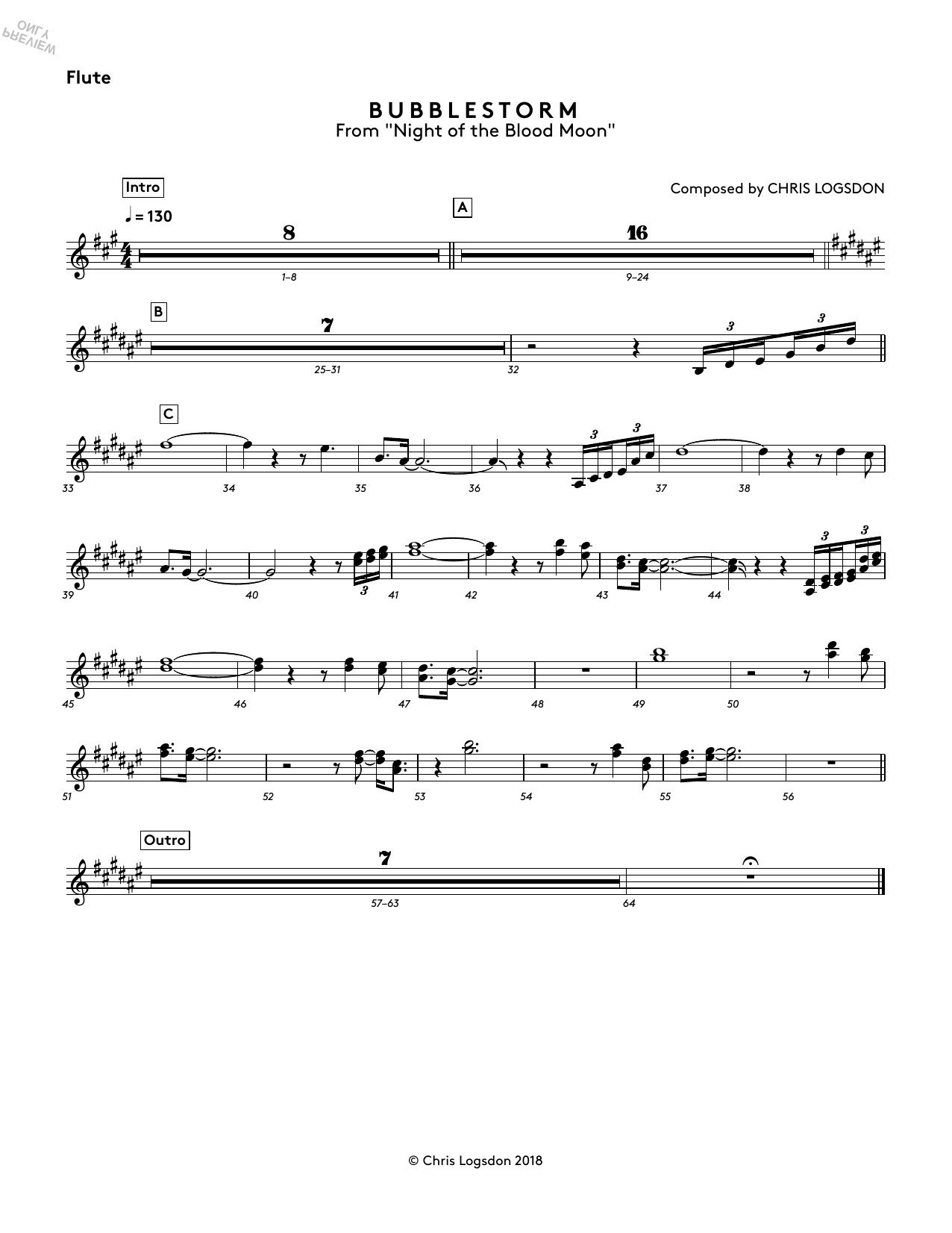 Bubblestorm (from Night of the Blood Moon) - Flute Sheet Music