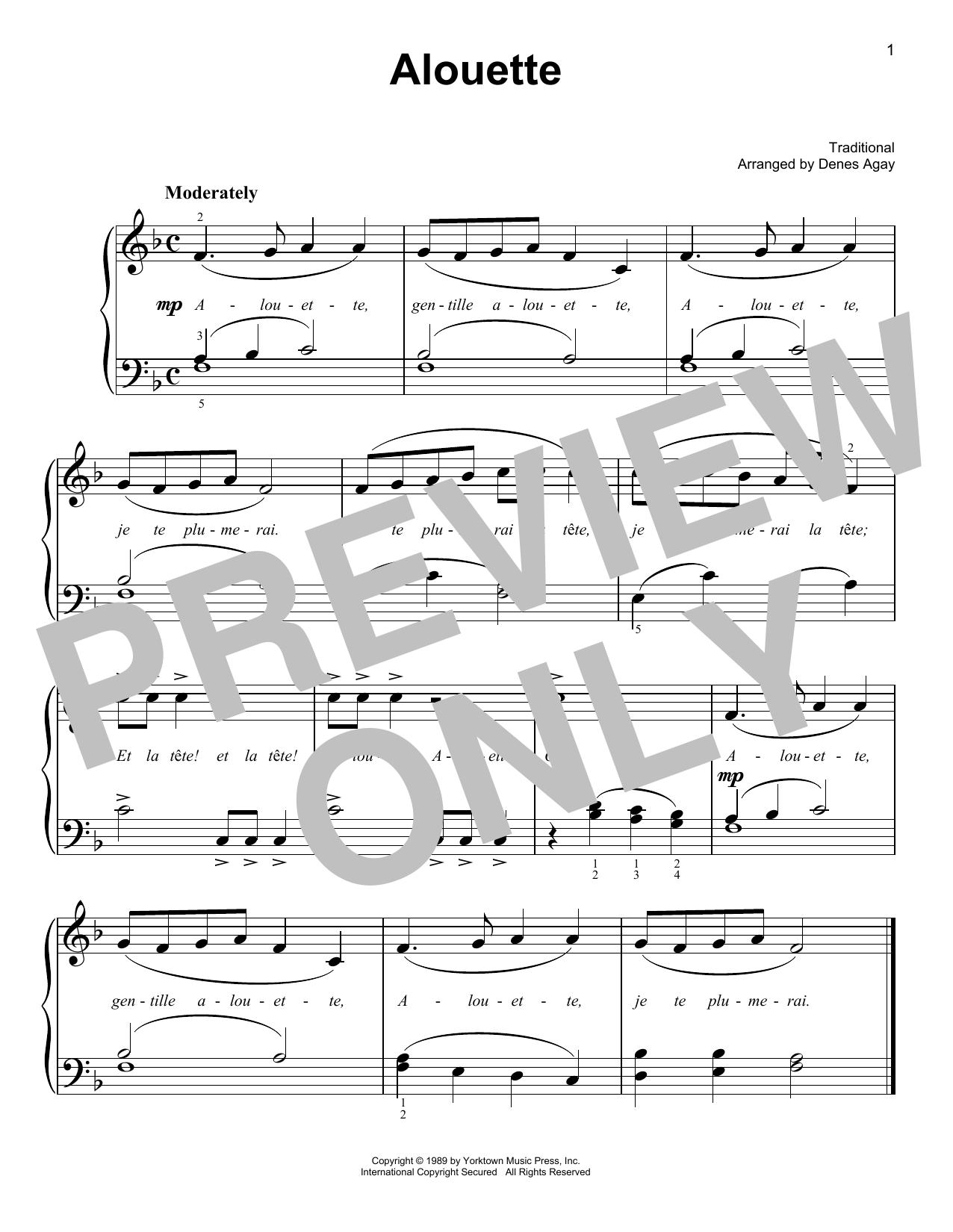 Alouette (arr. Denes Agay) (Easy Piano)