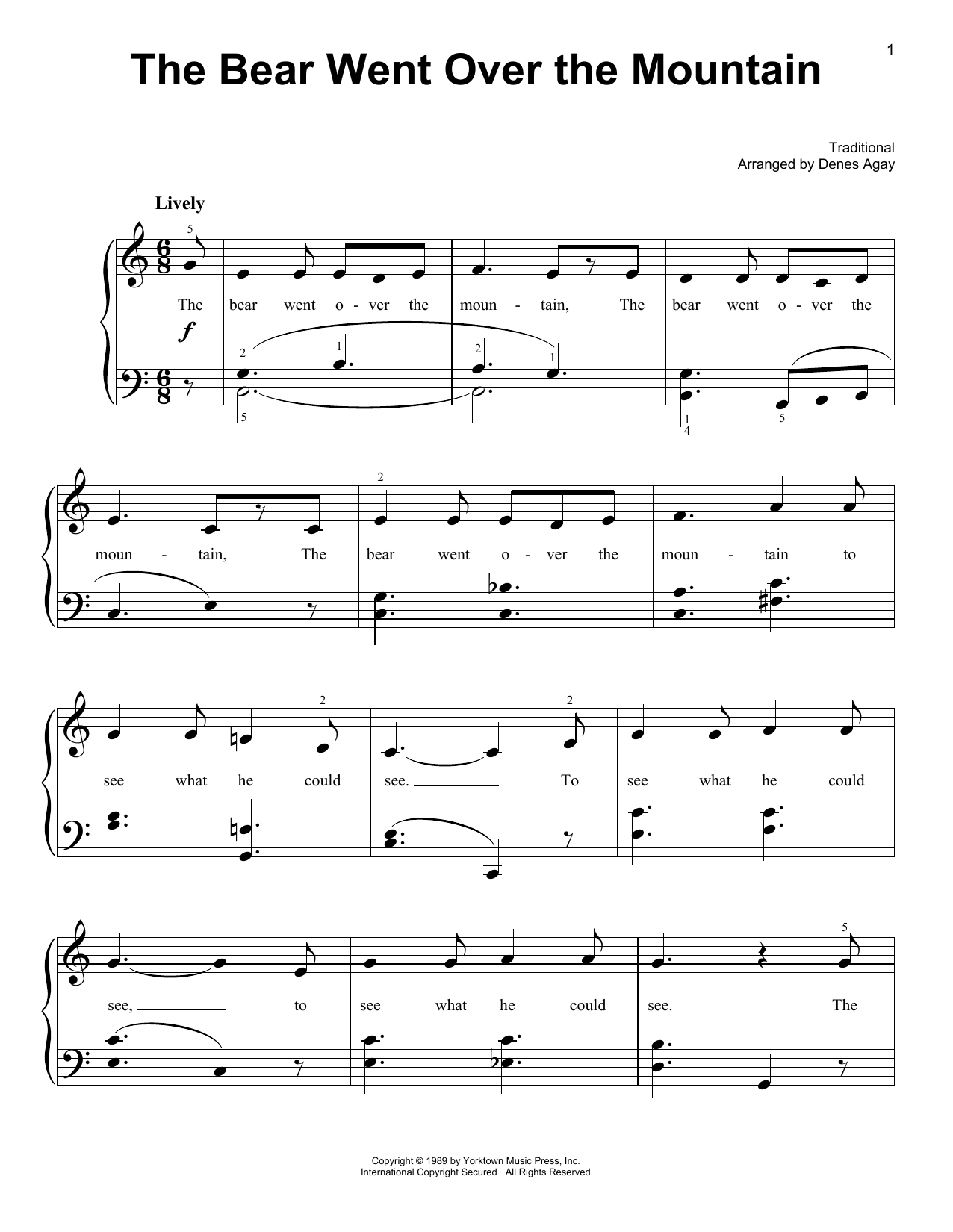 The Bear Went Over The Mountain (arr. Denes Agay) (Easy Piano)