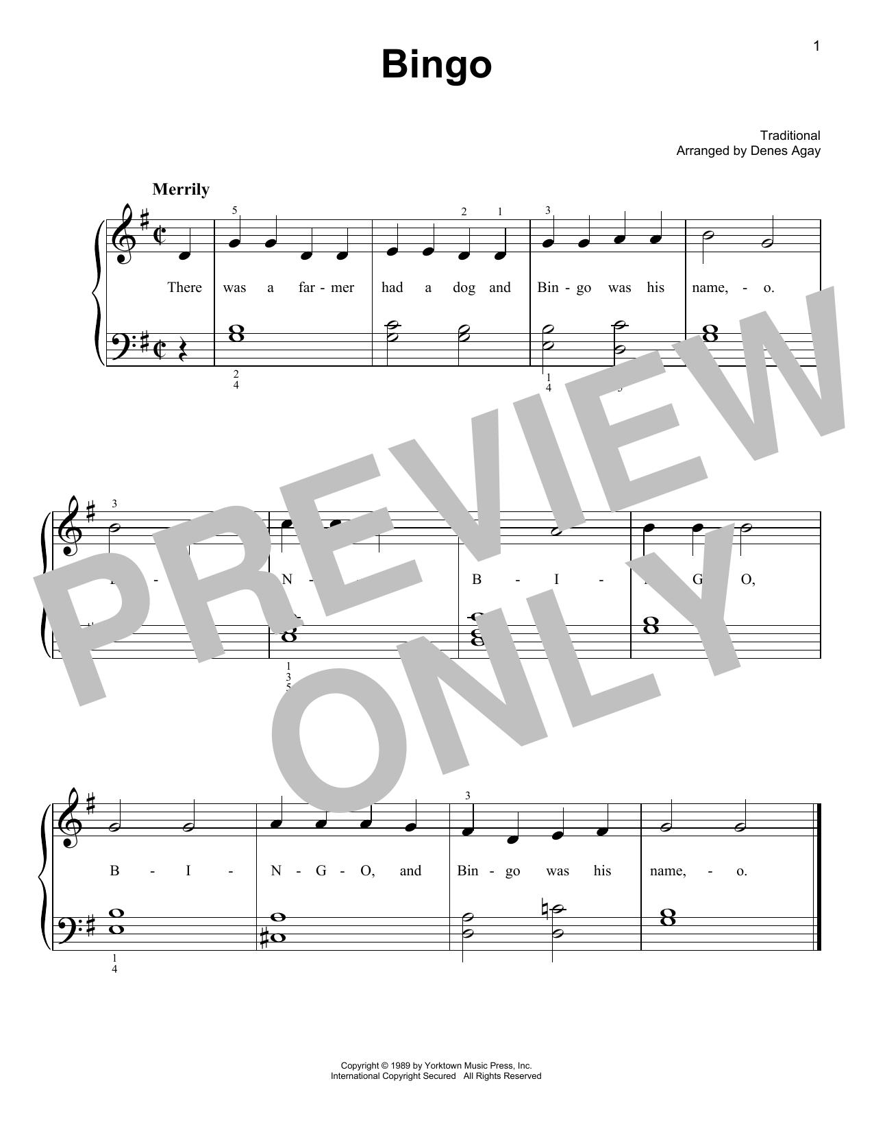 Bingo (arr. Denes Agay) (Easy Piano)