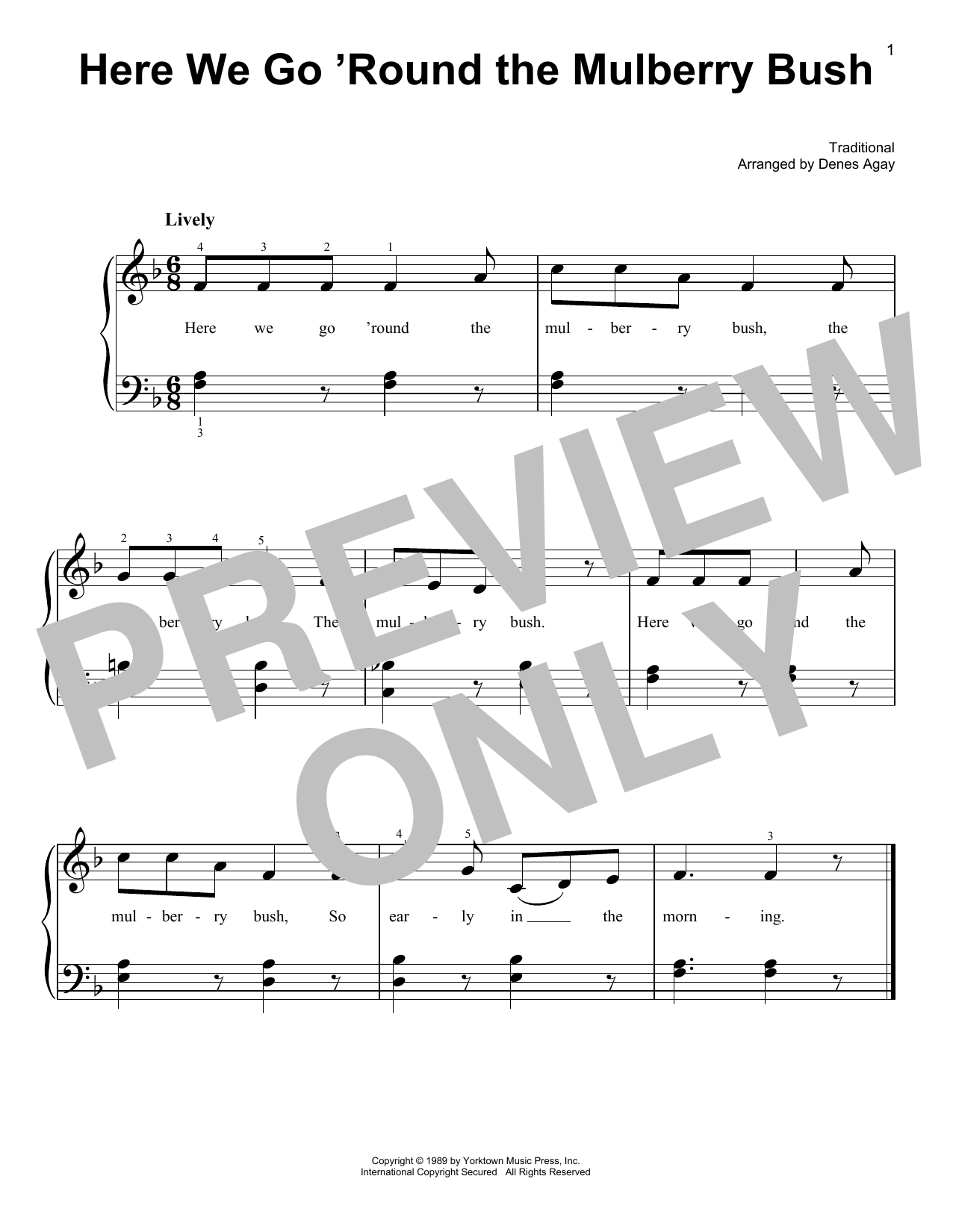 Here We Go 'Round The Mulberry Bush (arr. Denes Agay) (Easy Piano)