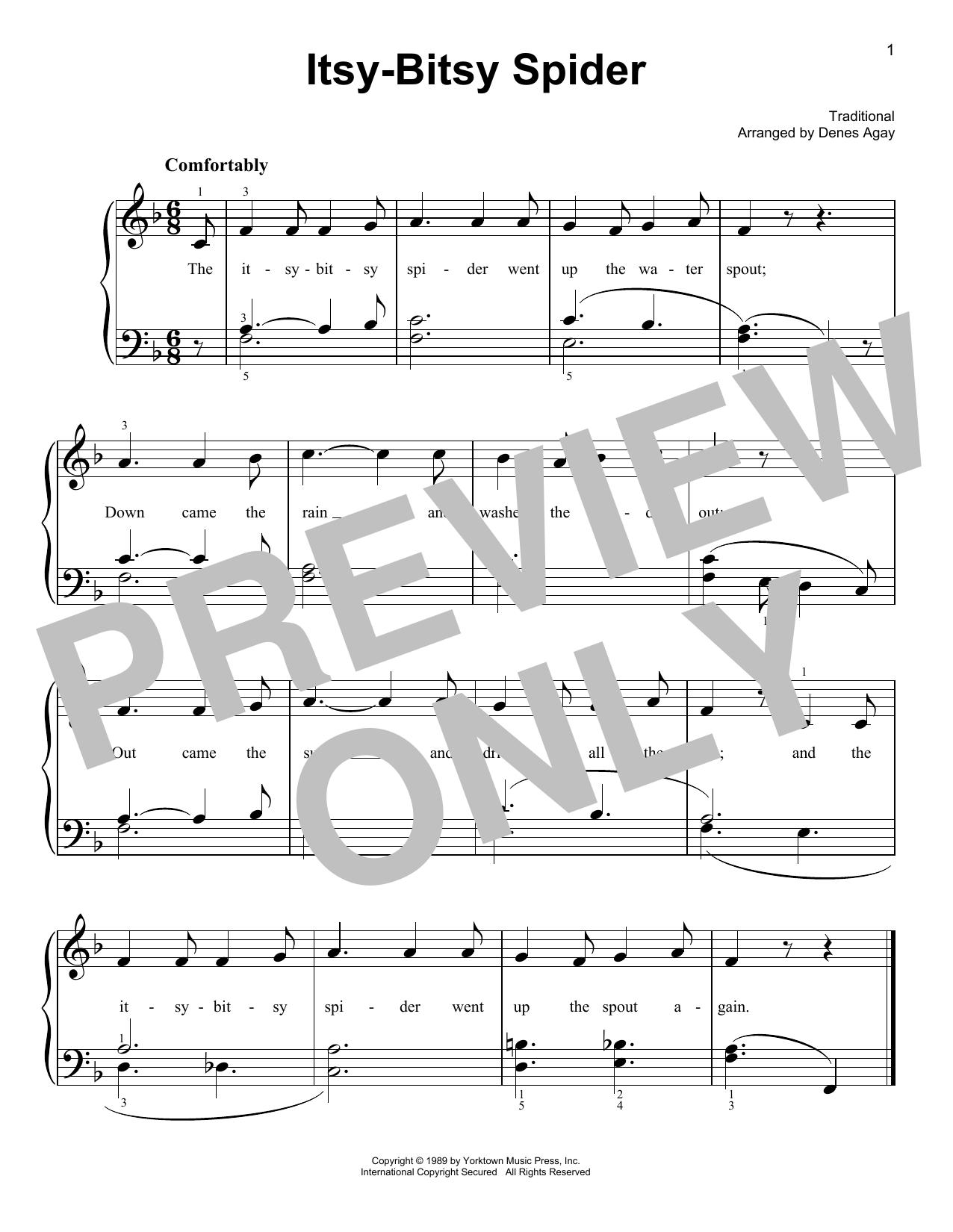 Itsy Bitsy Spider (arr. Denes Agay) (Easy Piano)