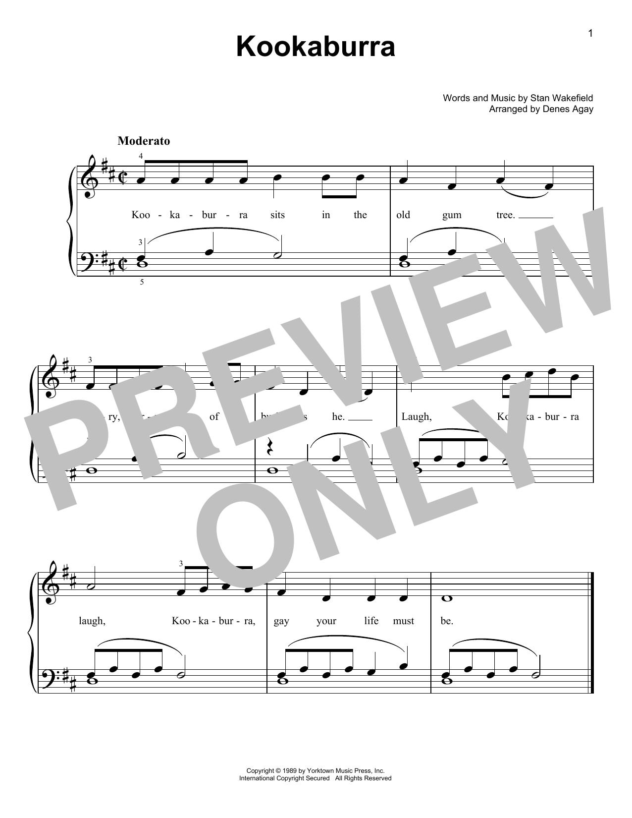 The Kookaburra Laughed (arr. Denes Agay) (Easy Piano)