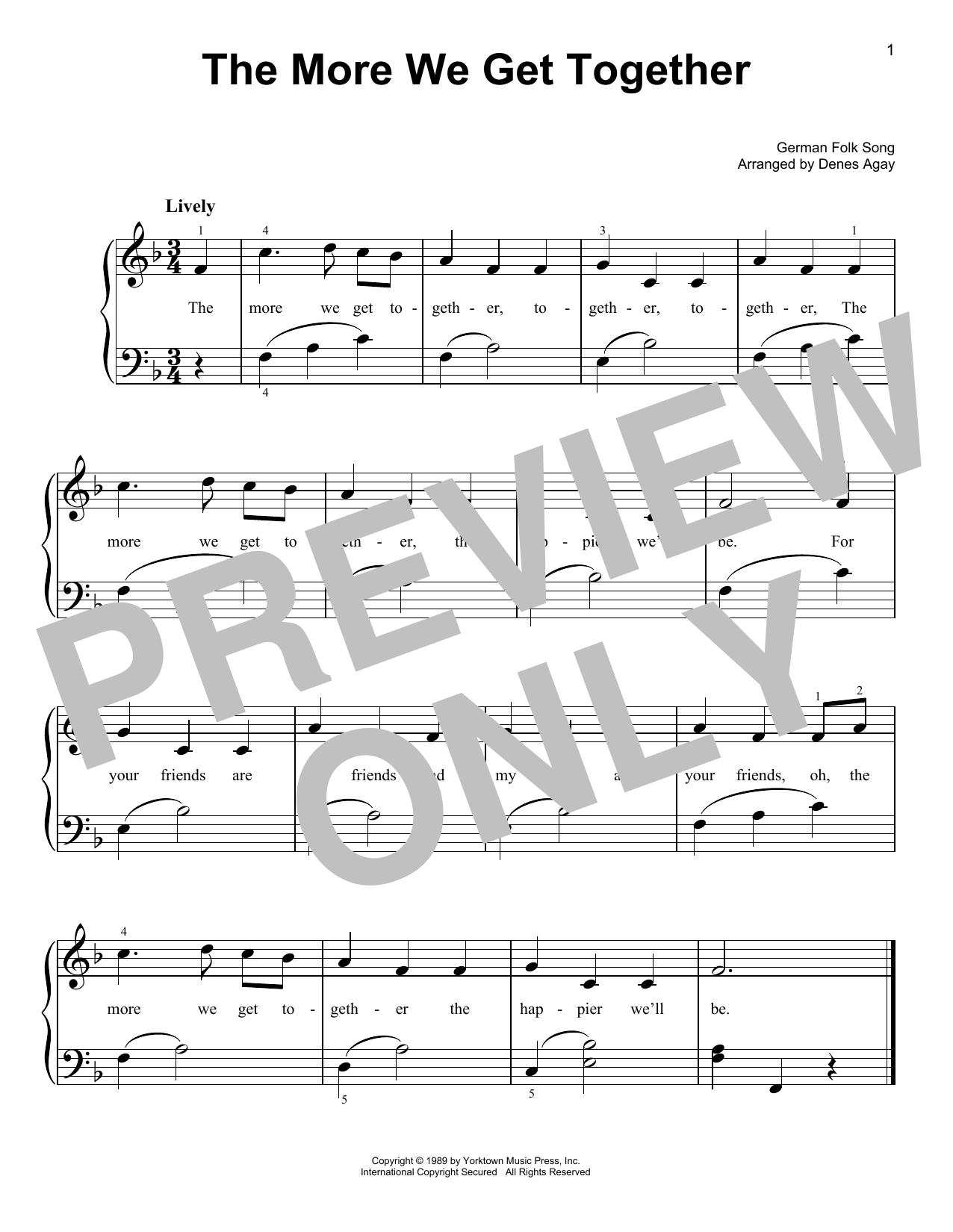 More We Get Together (arr. Denes Agay) (Easy Piano)