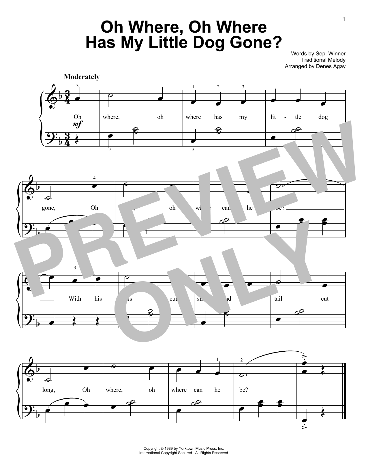 Oh Where, Oh Where Has My Little Dog Gone (arr. Denes Agay) (Easy Piano)