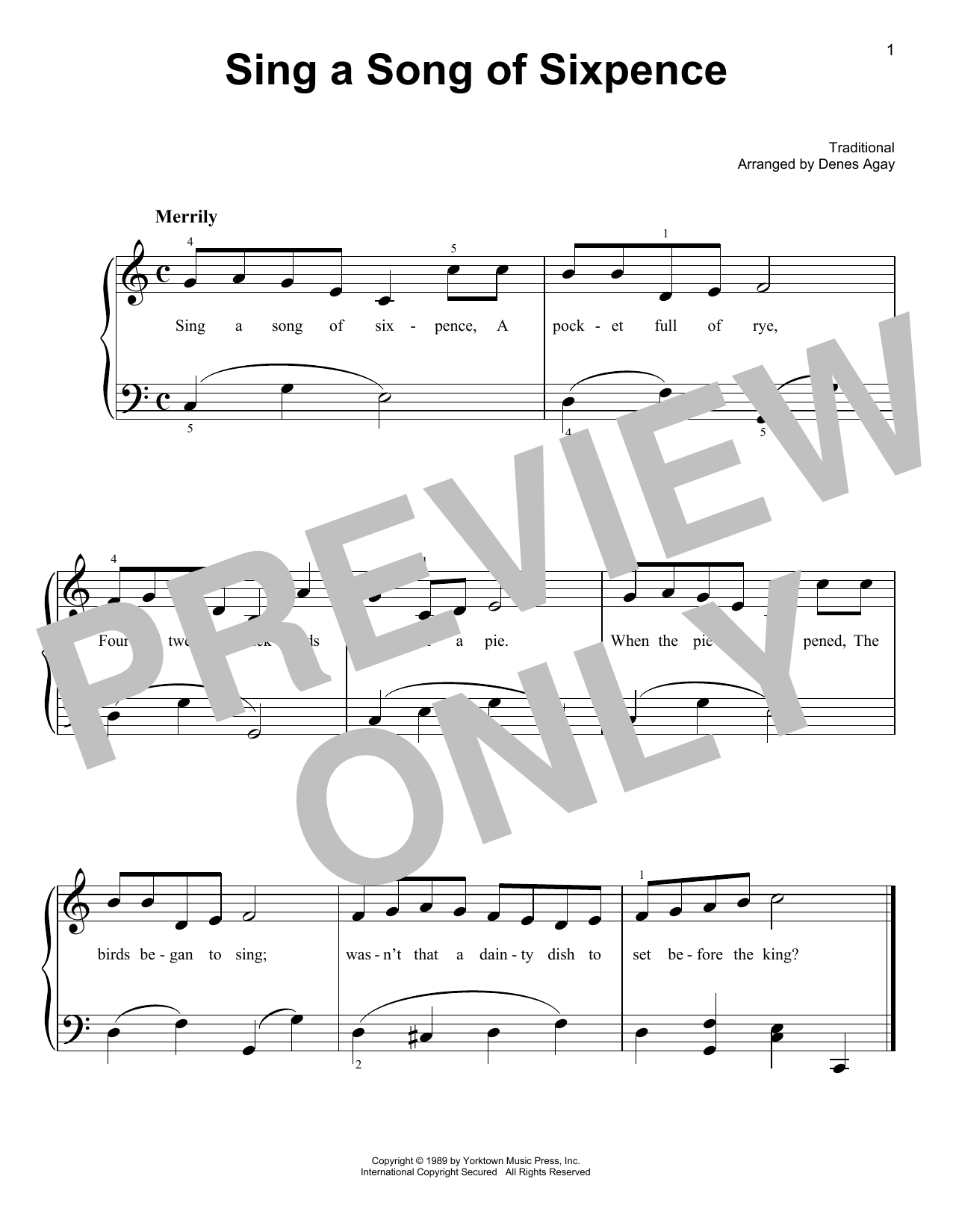 Sing A Song Of Sixpence (arr. Denes Agay) (Easy Piano)