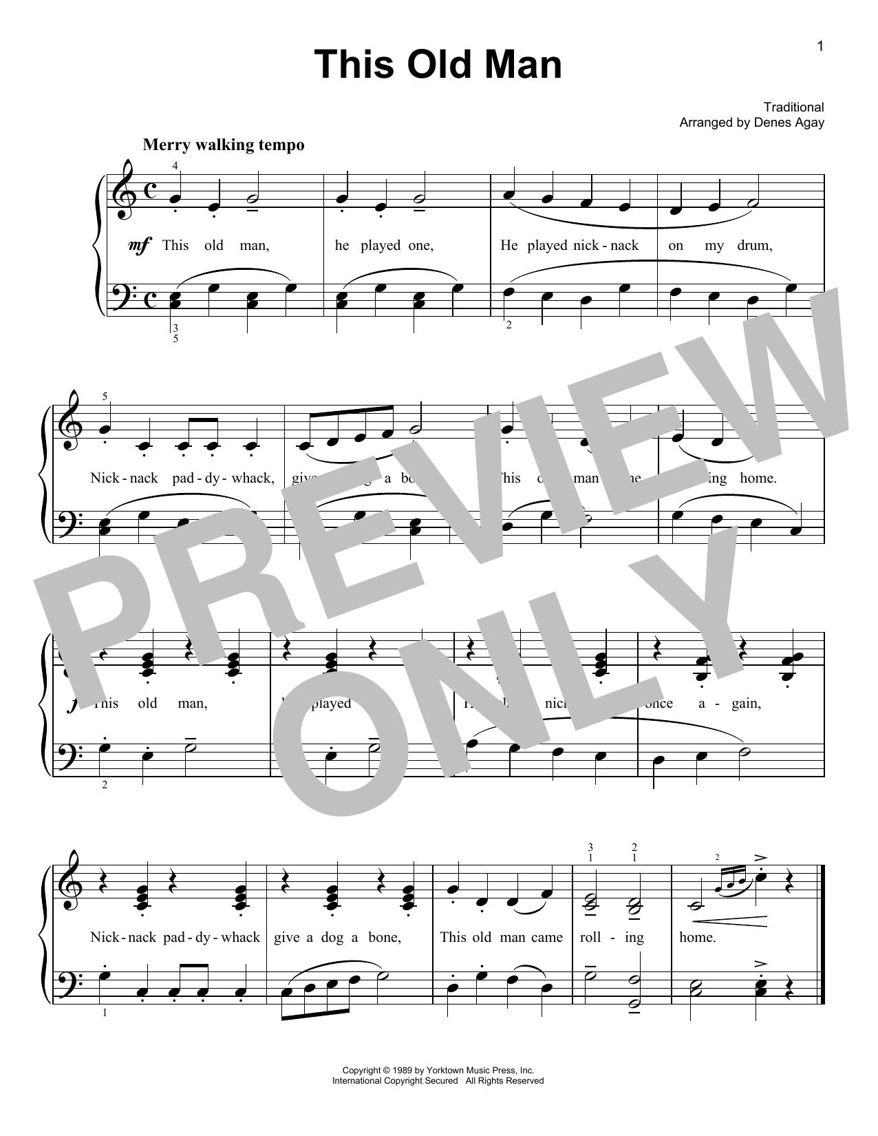This Old Man (arr. Denes Agay) (Easy Piano)