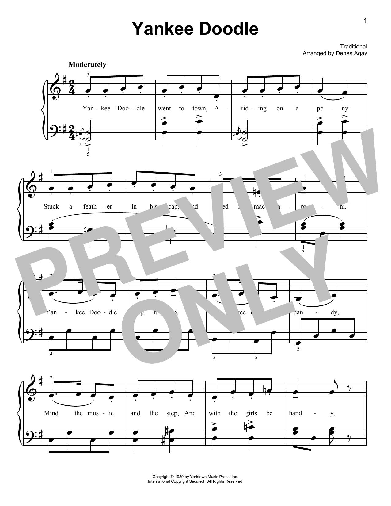 Yankee Doodle (arr. Denes Agay) (Easy Piano)