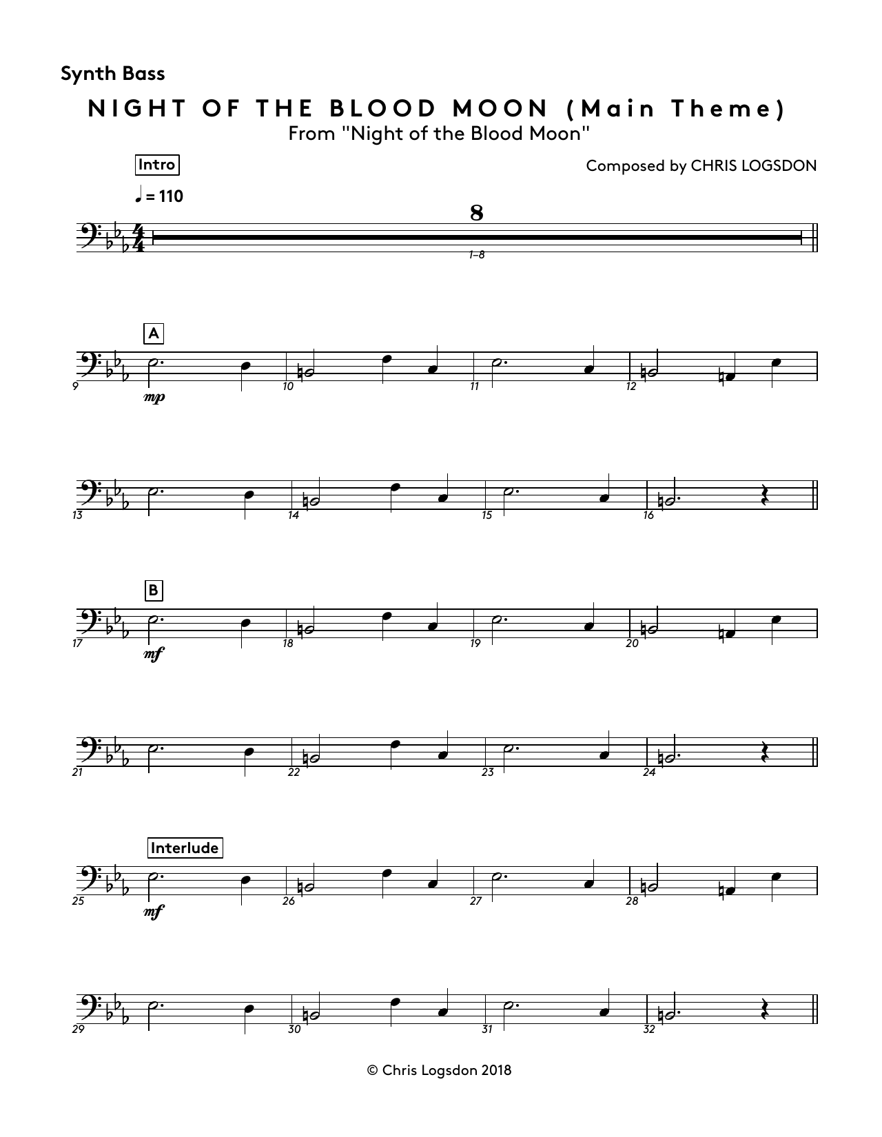 Night of the Blood Moon (Main Theme) (from Night of the Blood Moon) - Synth. Bass Sheet Music
