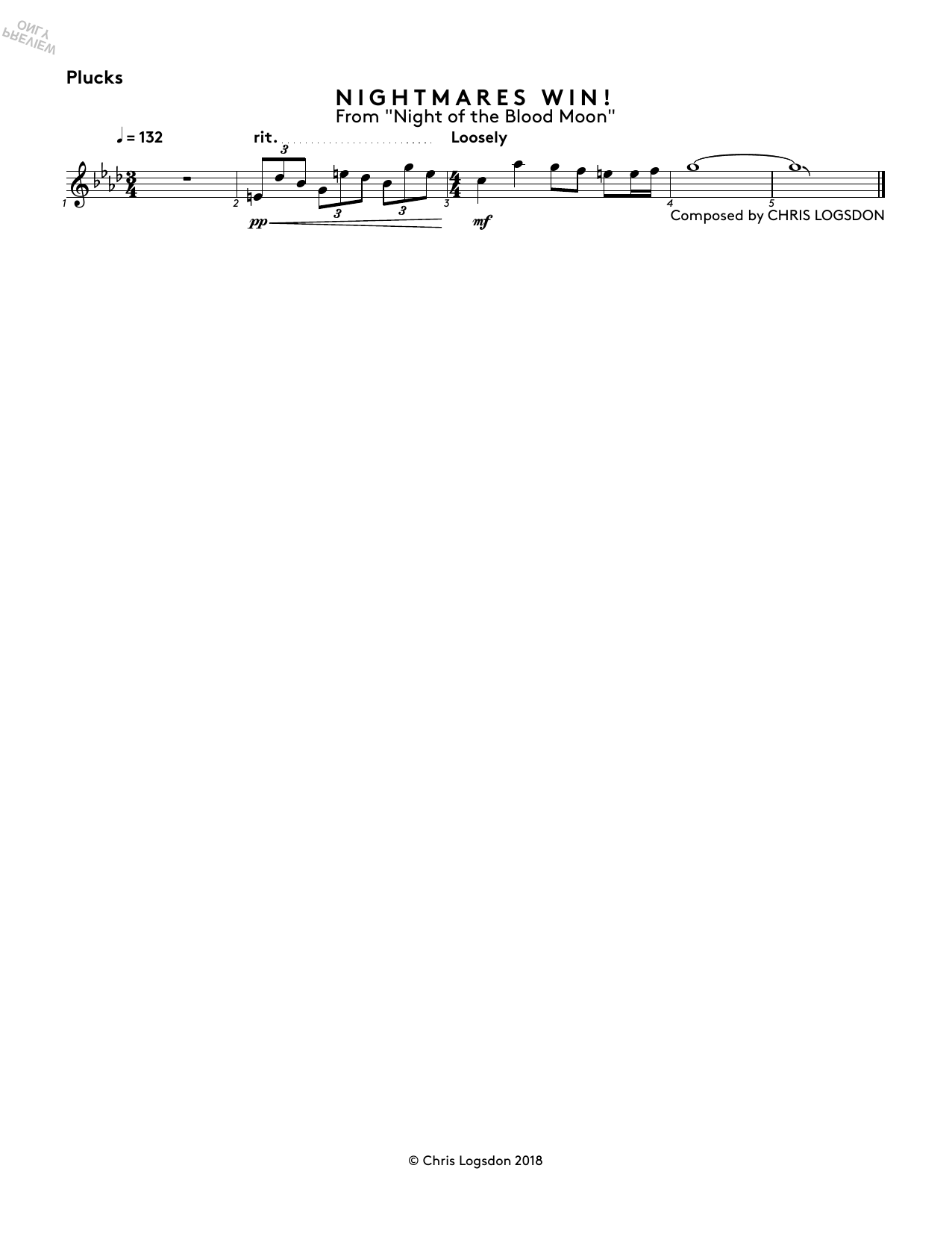 Nightmares Win! (from Night of the Blood Moon) - Synth Plucks Sheet Music