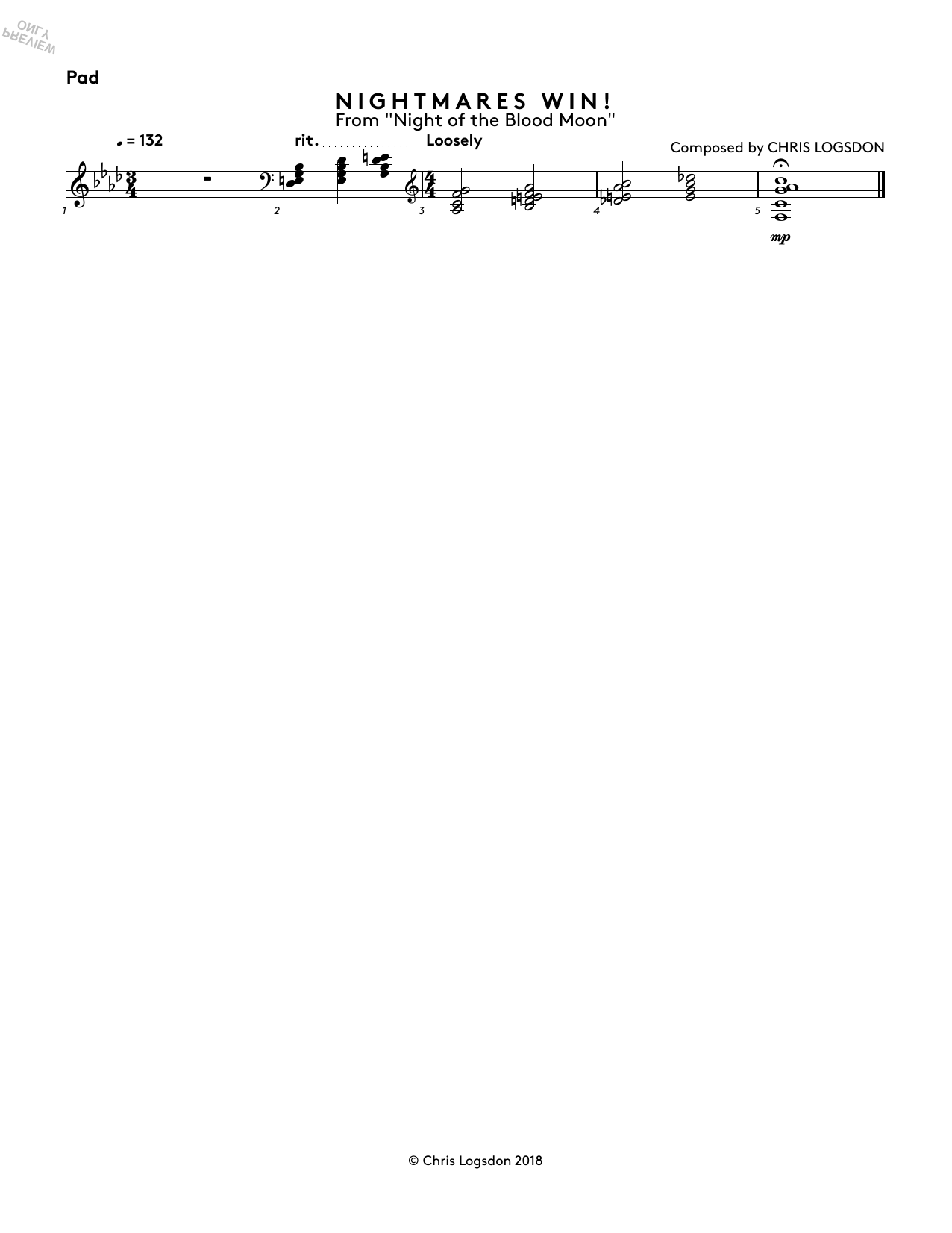 Nightmares Win! (from Night of the Blood Moon) - Synth Pad Sheet Music