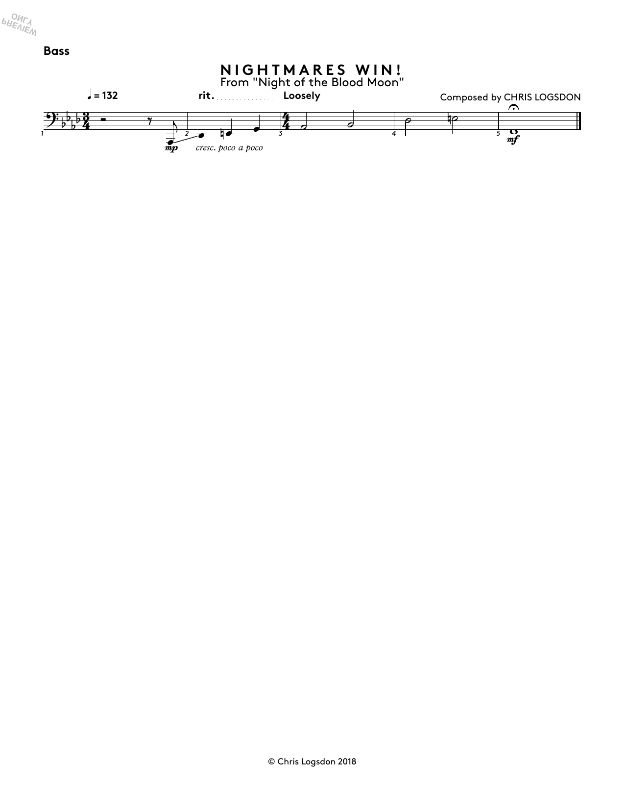 Nightmares Win! (from Night of the Blood Moon) - Bass Sheet Music