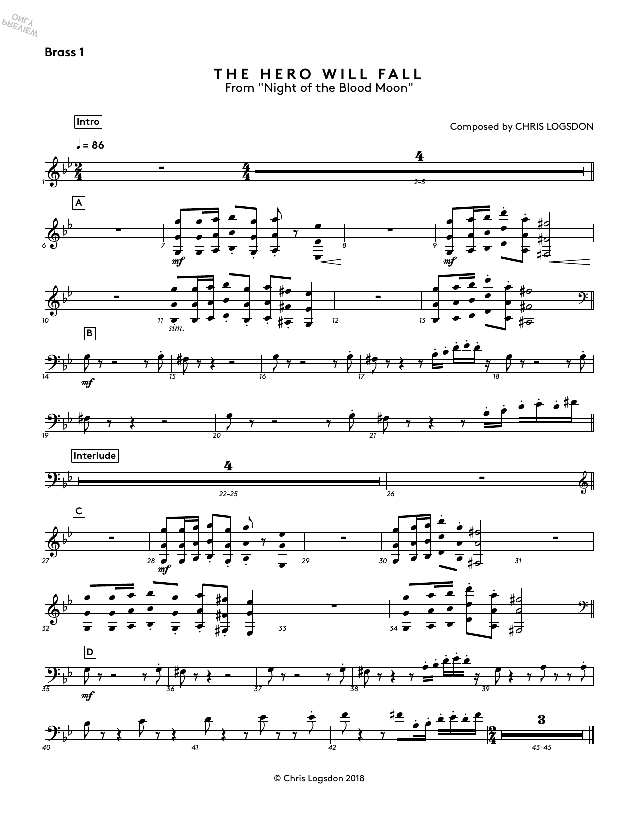 The Hero Will Fall (from Night of the Blood Moon) - Brass 1 Sheet Music