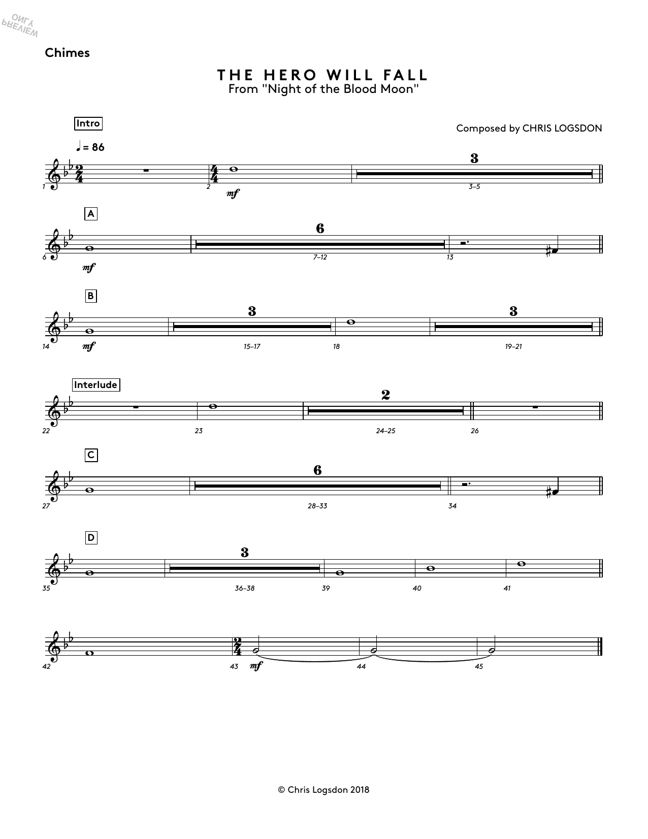 The Hero Will Fall (from Night of the Blood Moon) - Chimes Sheet Music