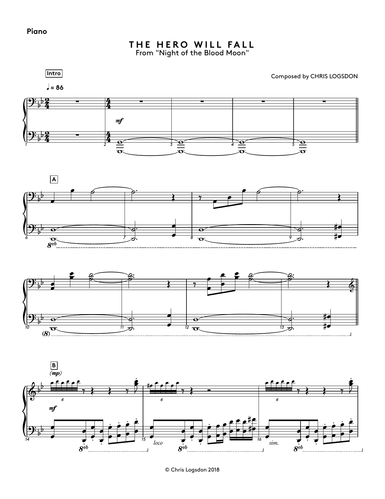 The Hero Will Fall (from Night of the Blood Moon) - Piano Sheet Music