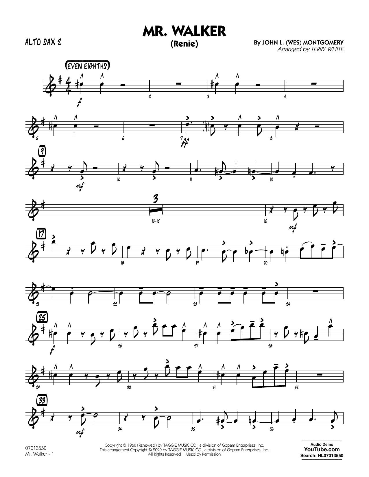Mr. Walker (arr. Terry White) - Alto Sax 2 Sheet Music
