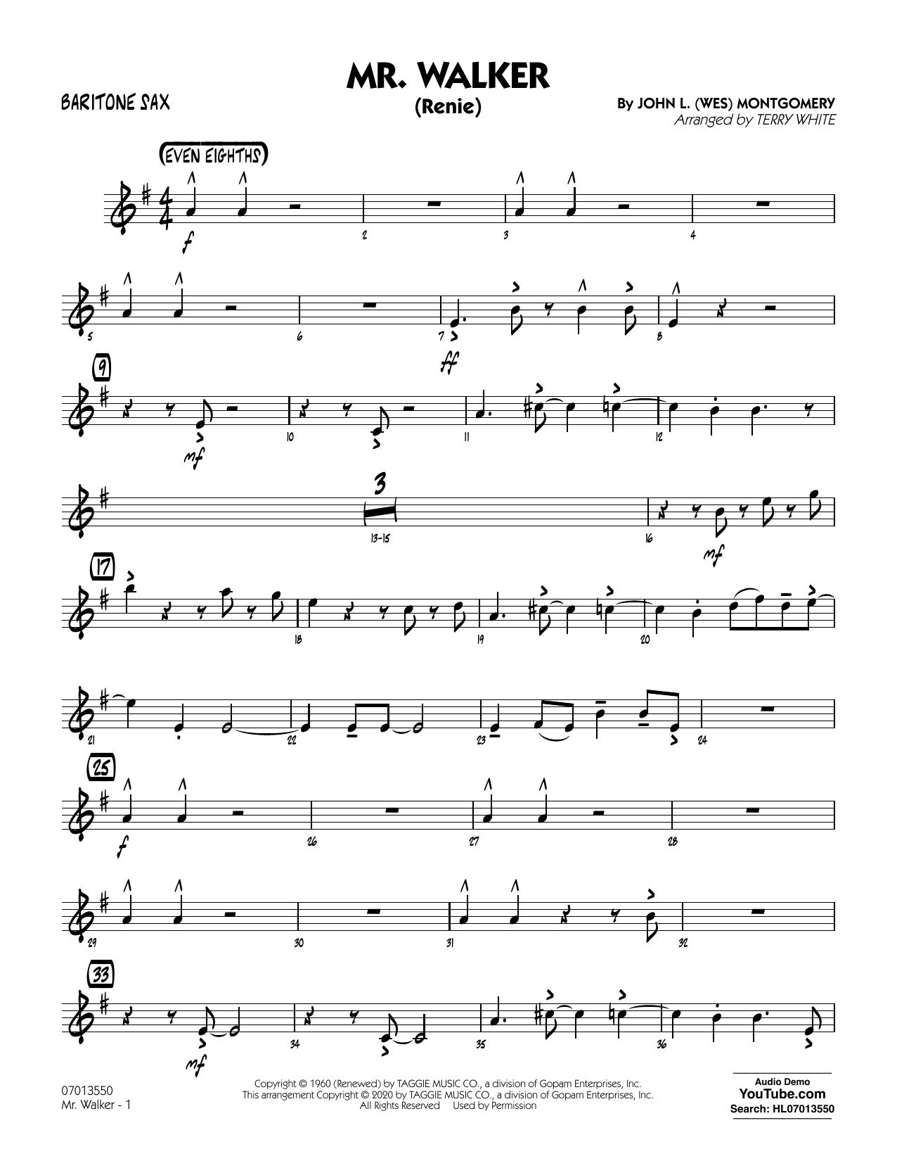 Mr. Walker (arr. Terry White) - Baritone Sax Sheet Music