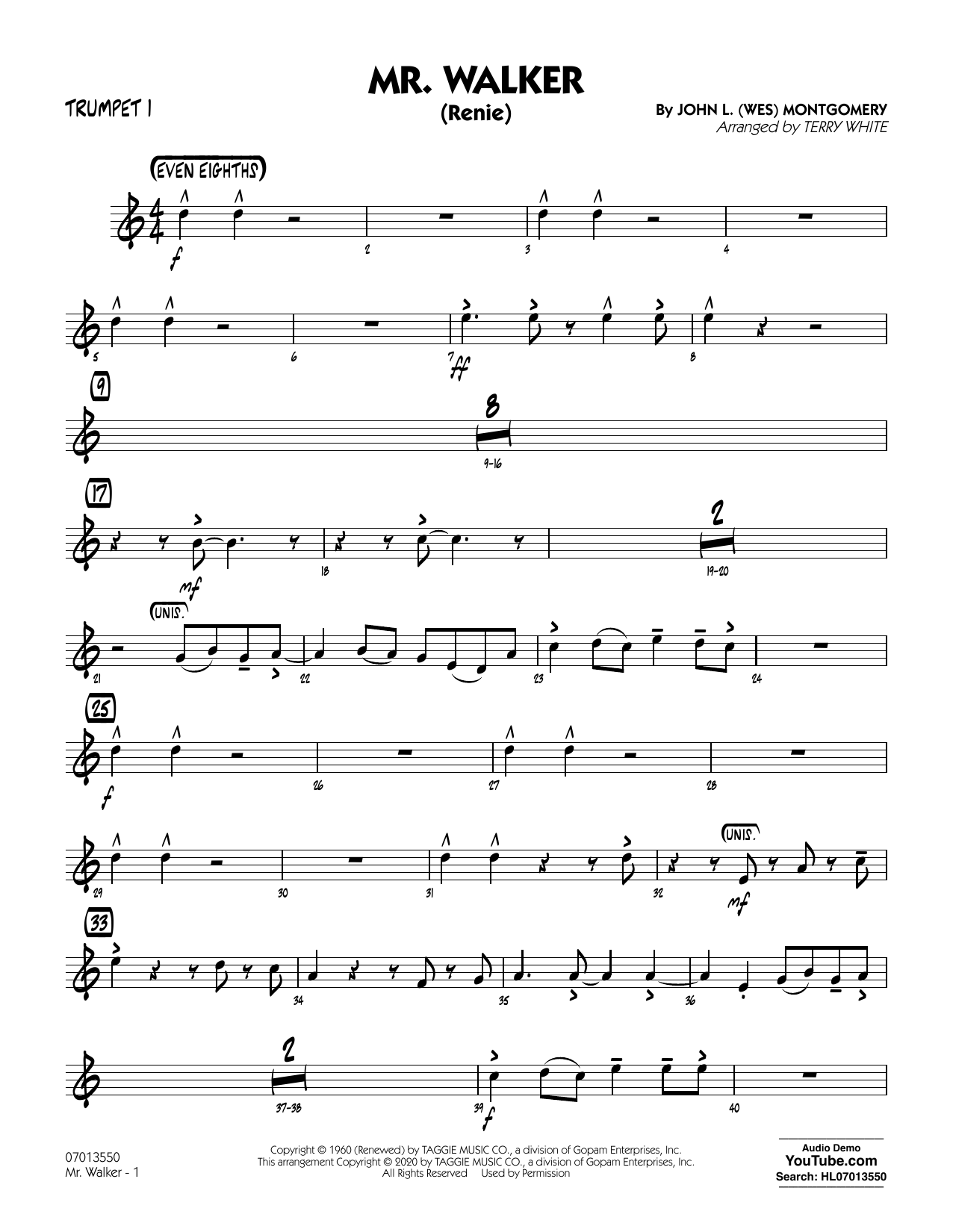 Mr. Walker (arr. Terry White) - Trumpet 1 Sheet Music