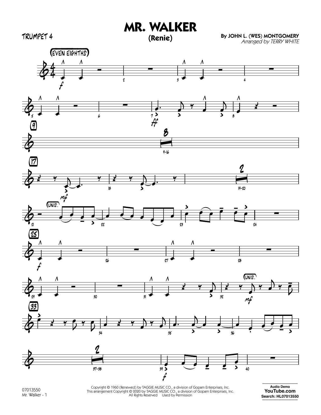 Mr. Walker (arr. Terry White) - Trumpet 4 Sheet Music