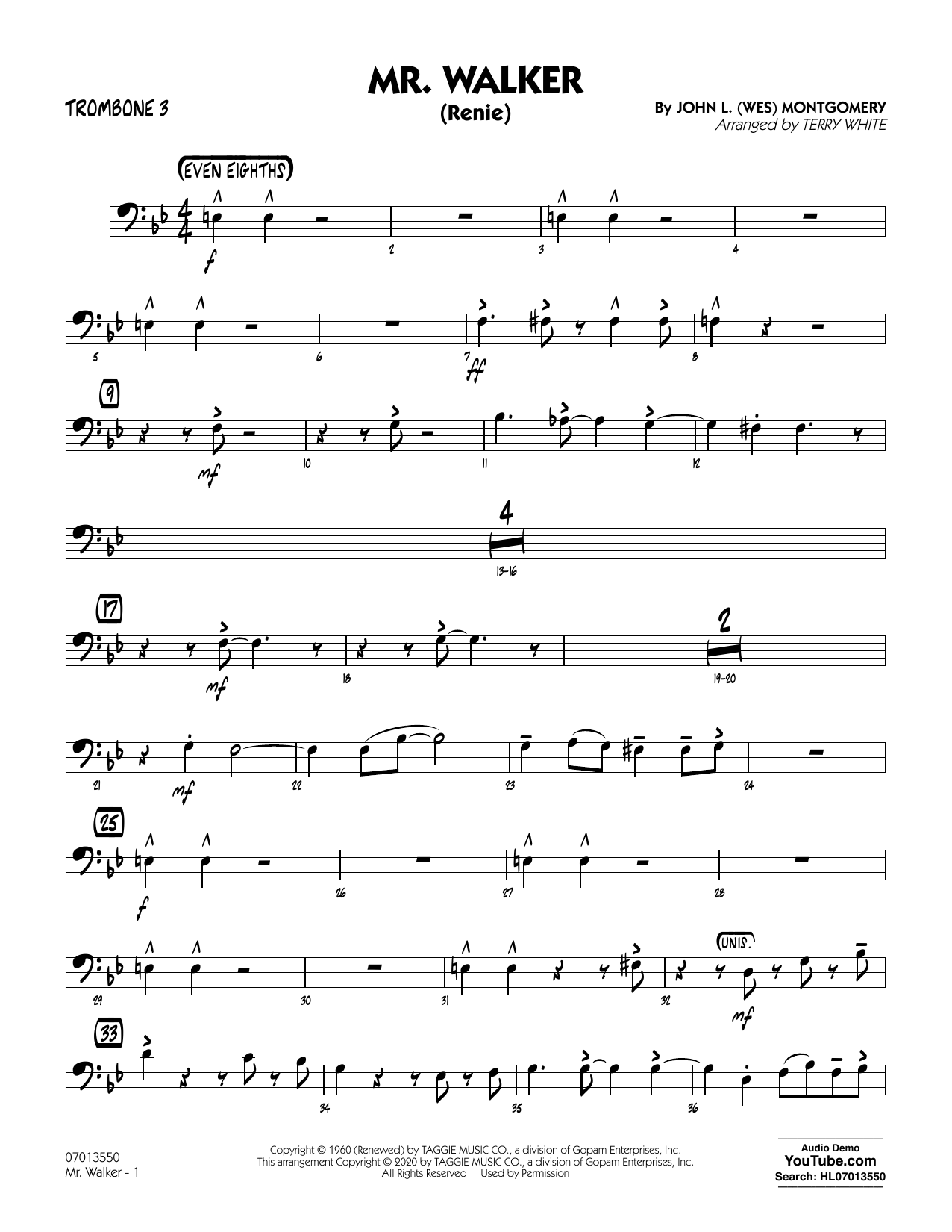 Mr. Walker (arr. Terry White) - Trombone 3 Sheet Music