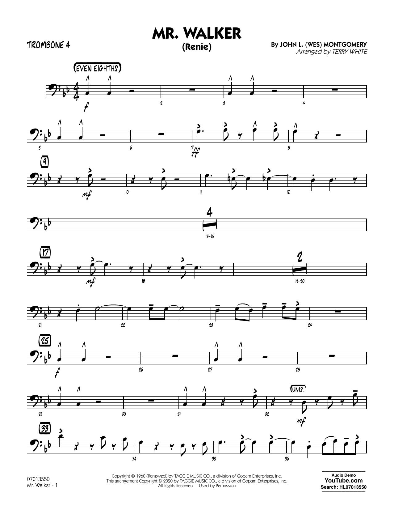 Mr. Walker (arr. Terry White) - Trombone 4 Sheet Music