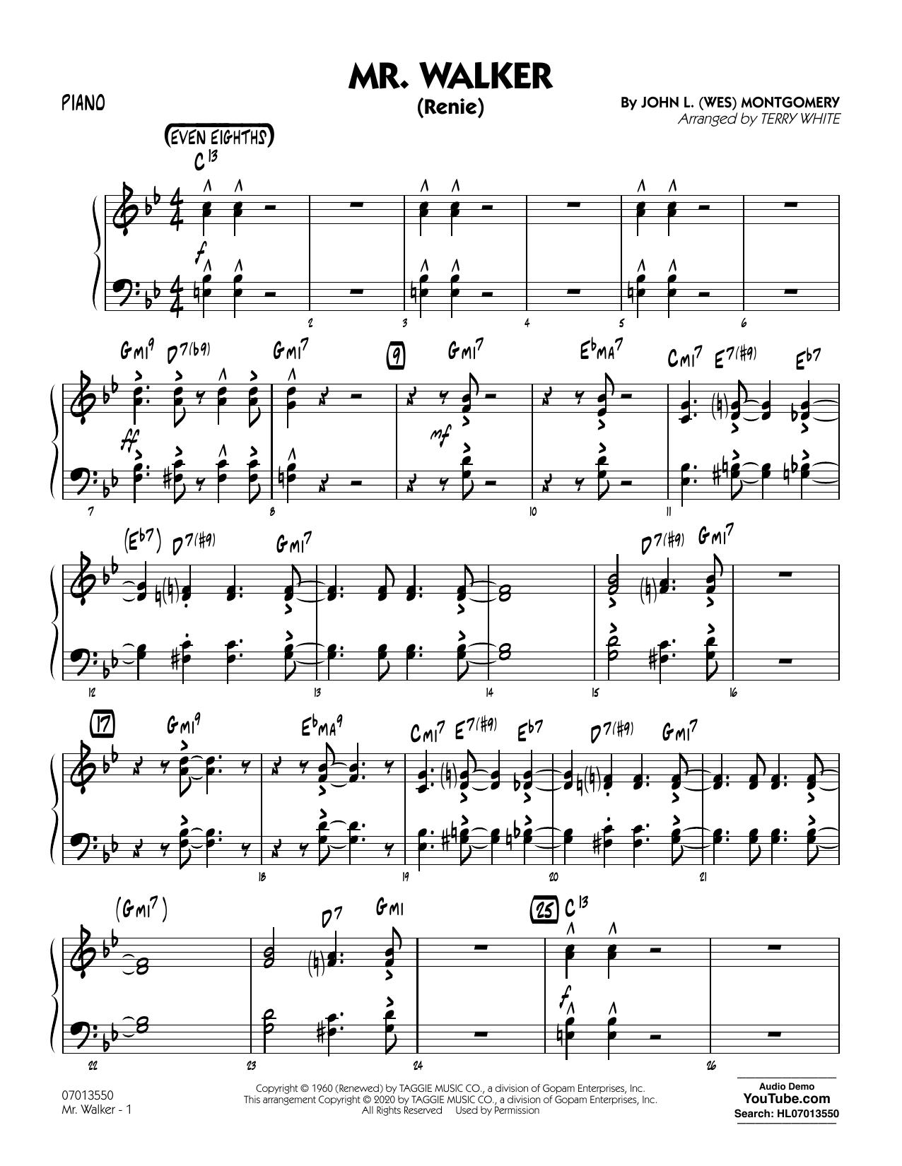 Mr. Walker (arr. Terry White) - Piano Sheet Music