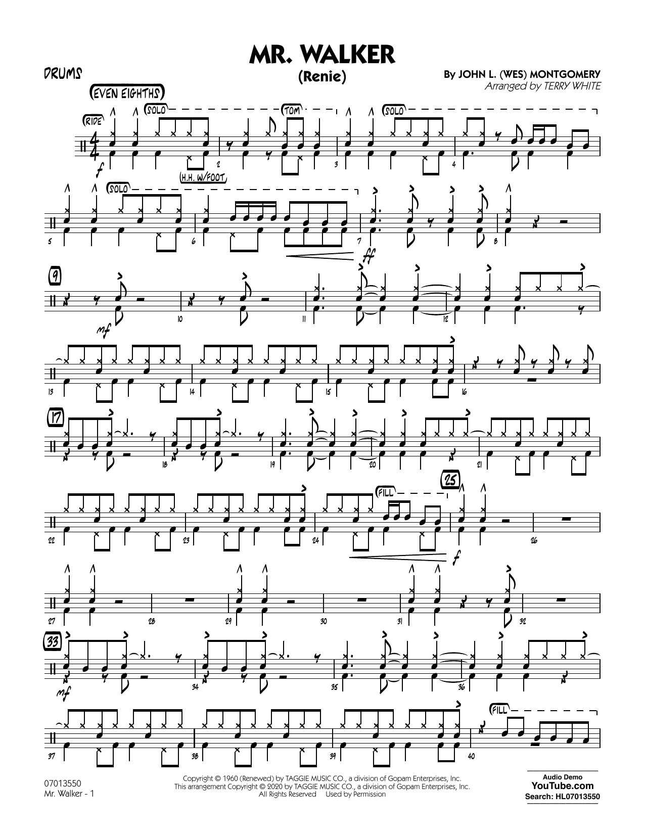 Mr. Walker (arr. Terry White) - Drums Sheet Music