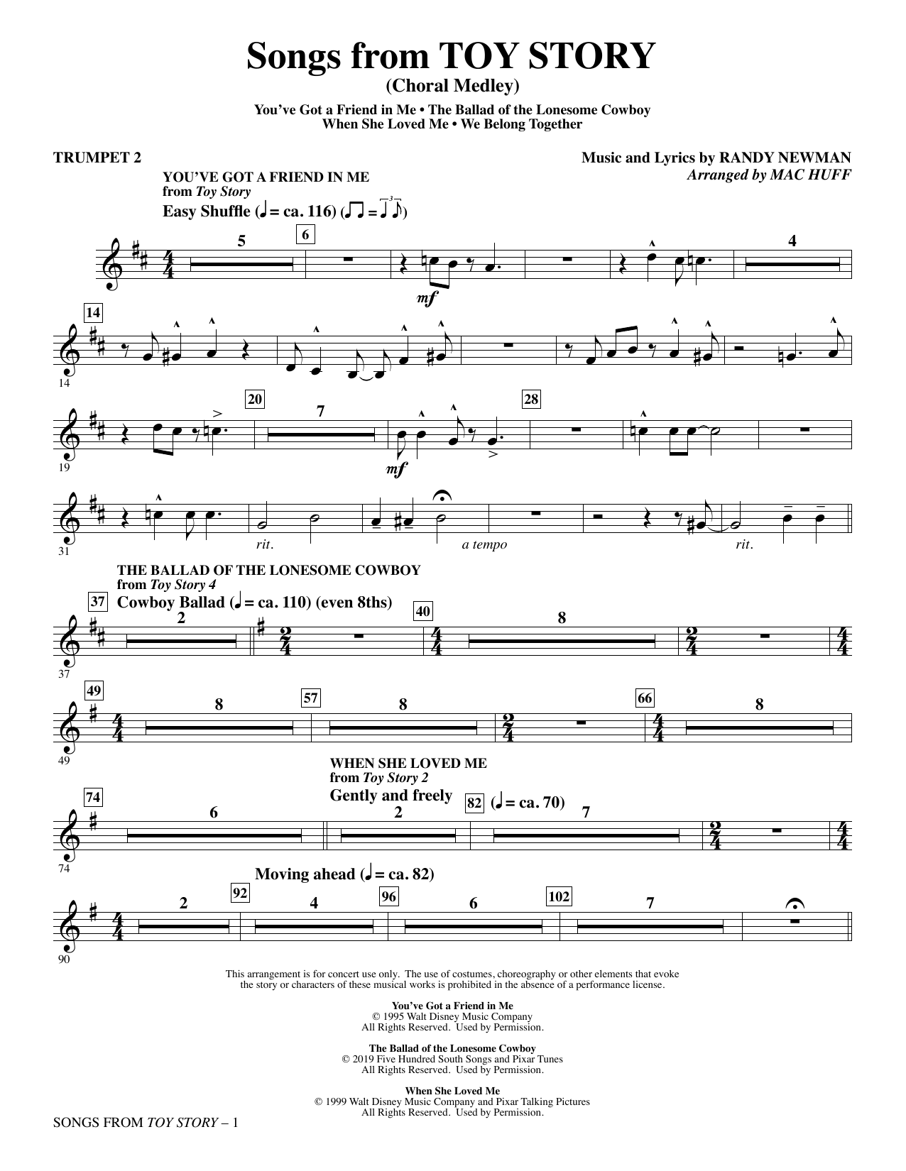 Songs from Toy Story (Choral Medley) (arr. Mac Huff) - Trumpet 2 Sheet Music
