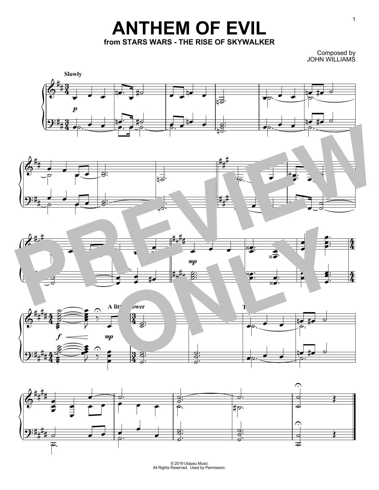 Anthem Of Evil (from The Rise Of Skywalker) (Piano Solo)