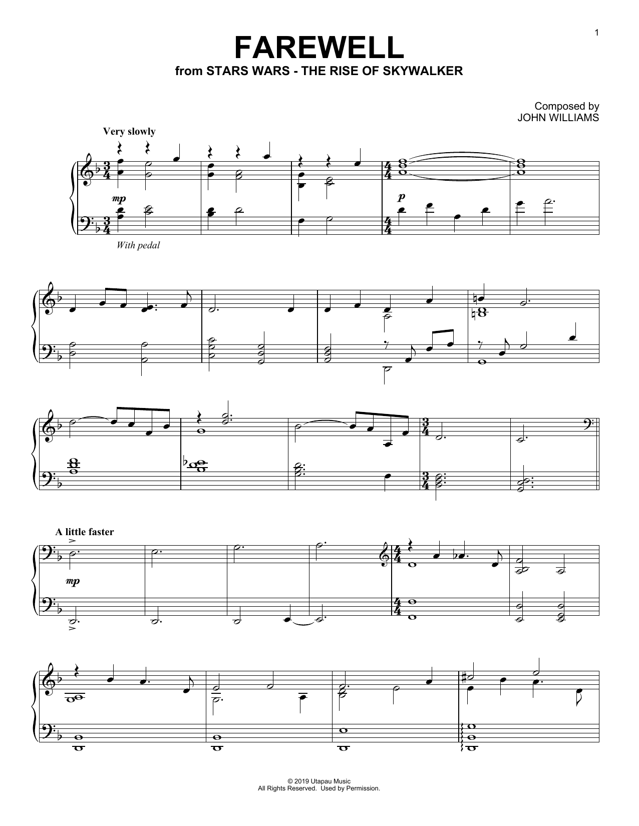 Farewell (from The Rise Of Skywalker) (Piano Solo)