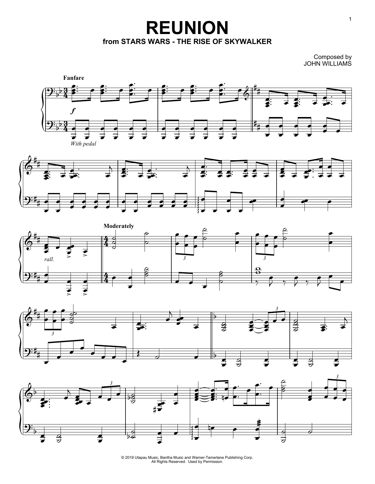 Reunion (from The Rise Of Skywalker) (Piano Solo)