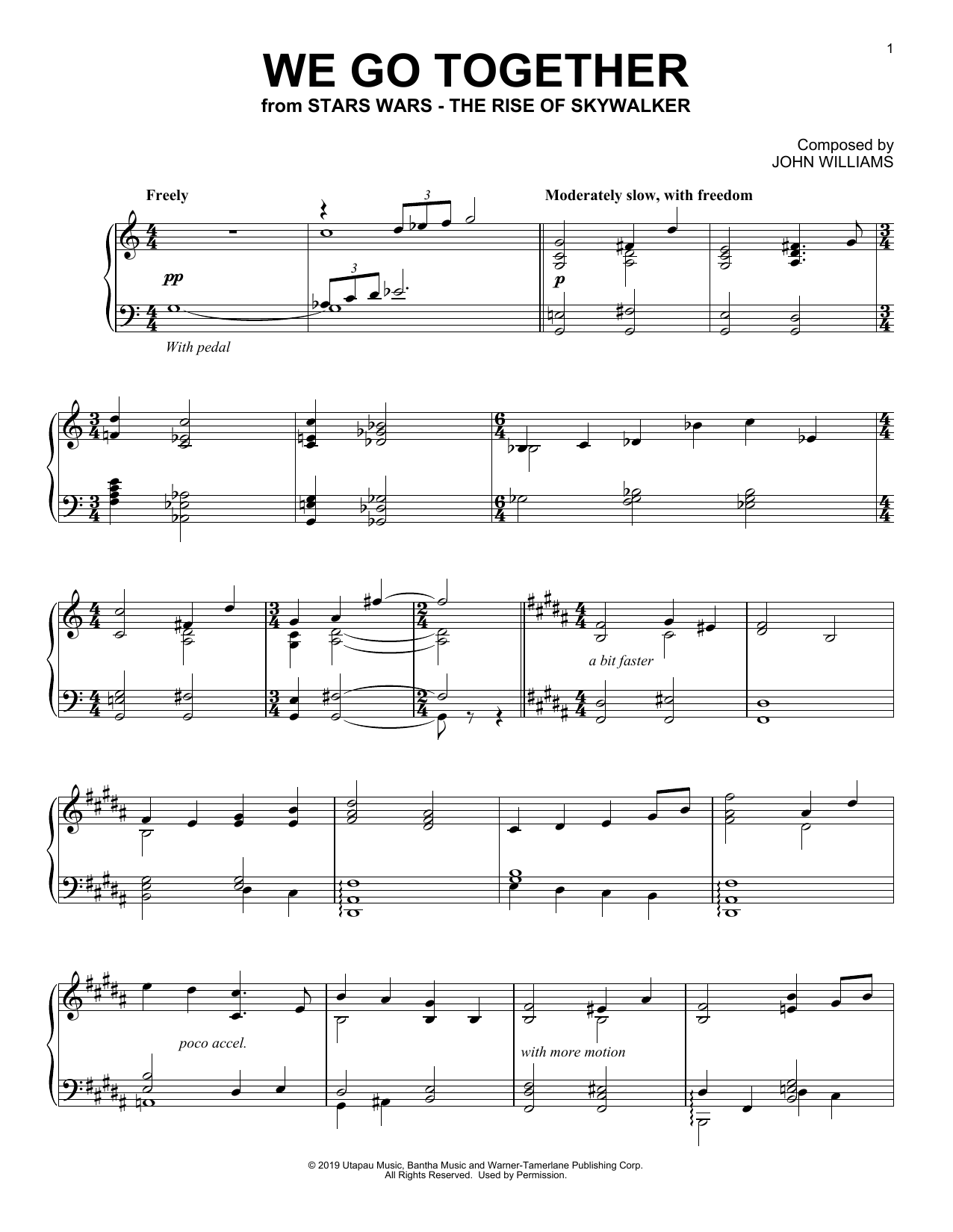 We Go Together (from The Rise Of Skywalker) (Piano Solo)