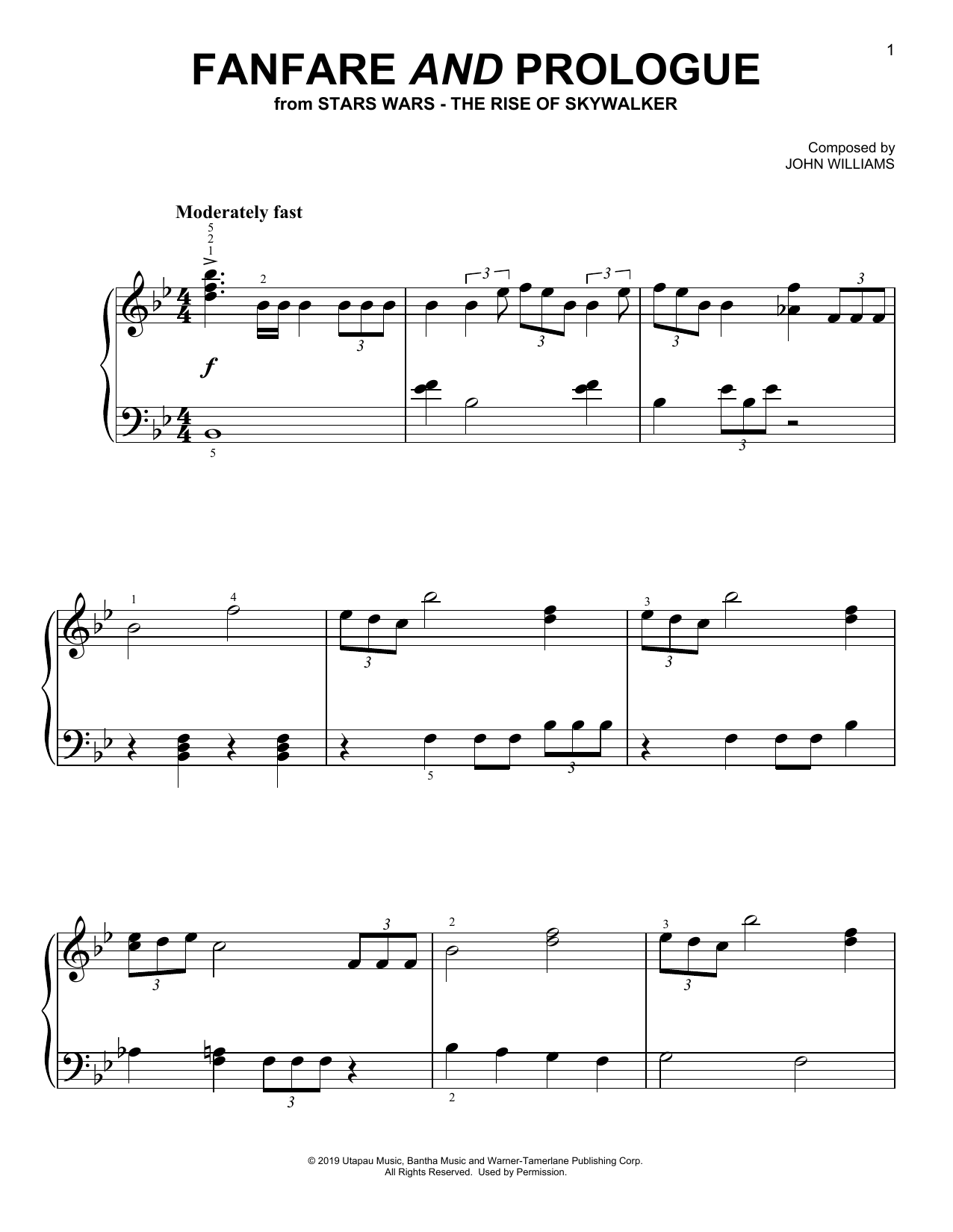 Fanfare And Prologue (from The Rise Of Skywalker) (Easy Piano)