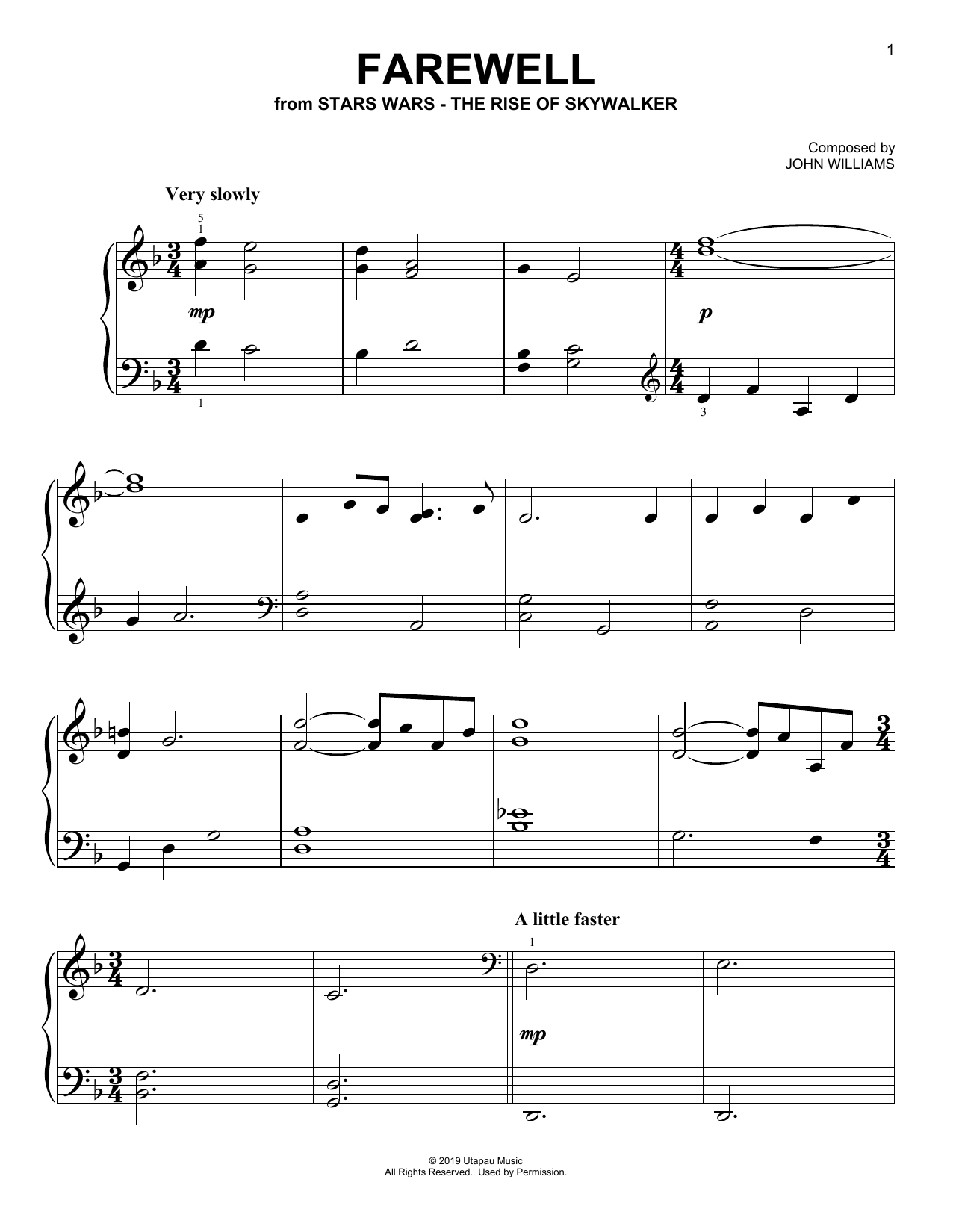 Farewell (from The Rise Of Skywalker) (Easy Piano)