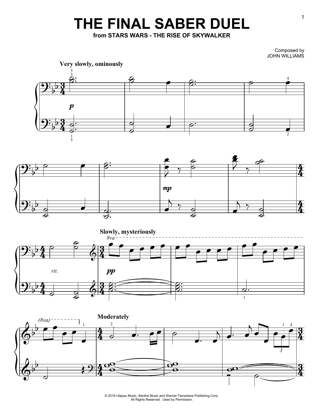 The Final Saber Duel (from The Rise Of Skywalker) (Easy Piano)