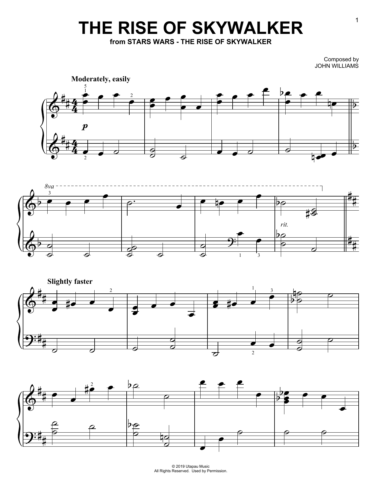 The Rise Of Skywalker (from The Rise Of Skywalker) (Easy Piano)