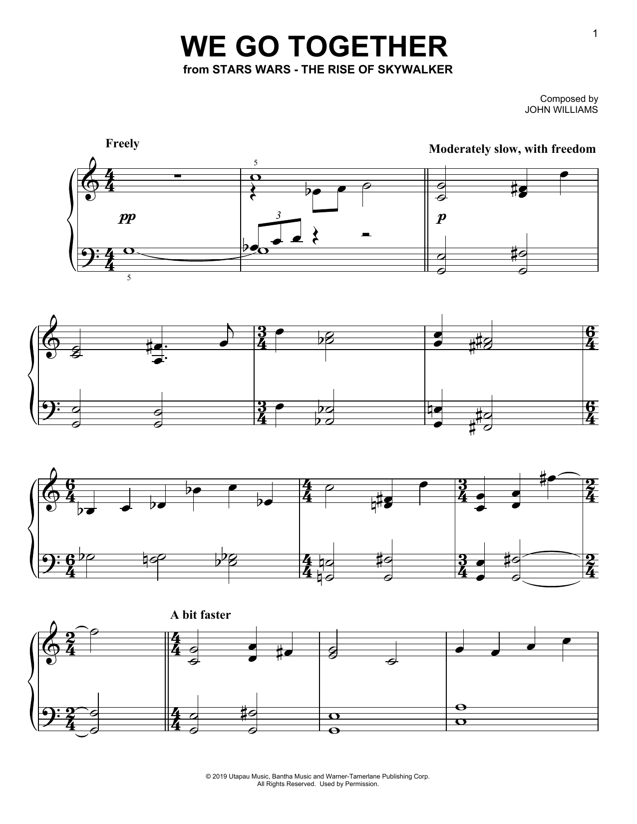 We Go Together (from The Rise Of Skywalker) (Easy Piano)