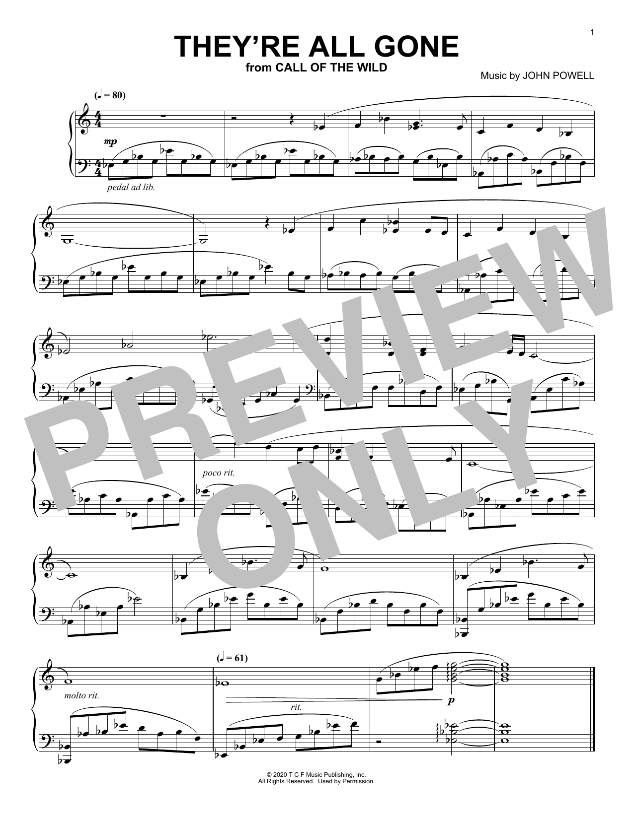 They're All Gone (from The Call Of The Wild) (arr. Batu Sener) (Piano Solo)
