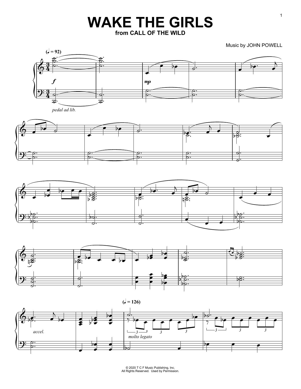 Wake The Girls (from The Call Of The Wild) (arr. Batu Sener) (Piano Solo)
