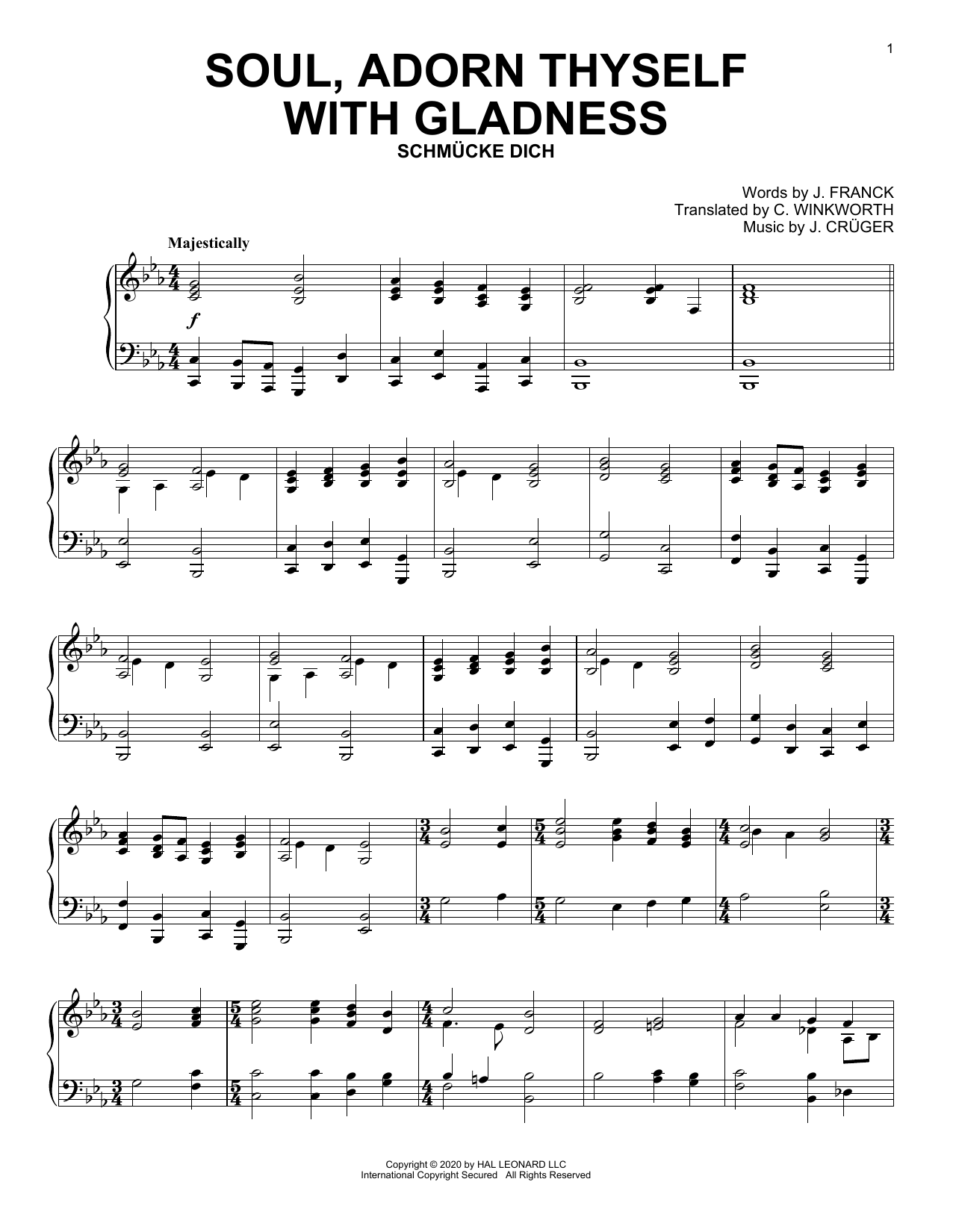 Soul, Adorn Thyself With Gladness (Piano Solo)