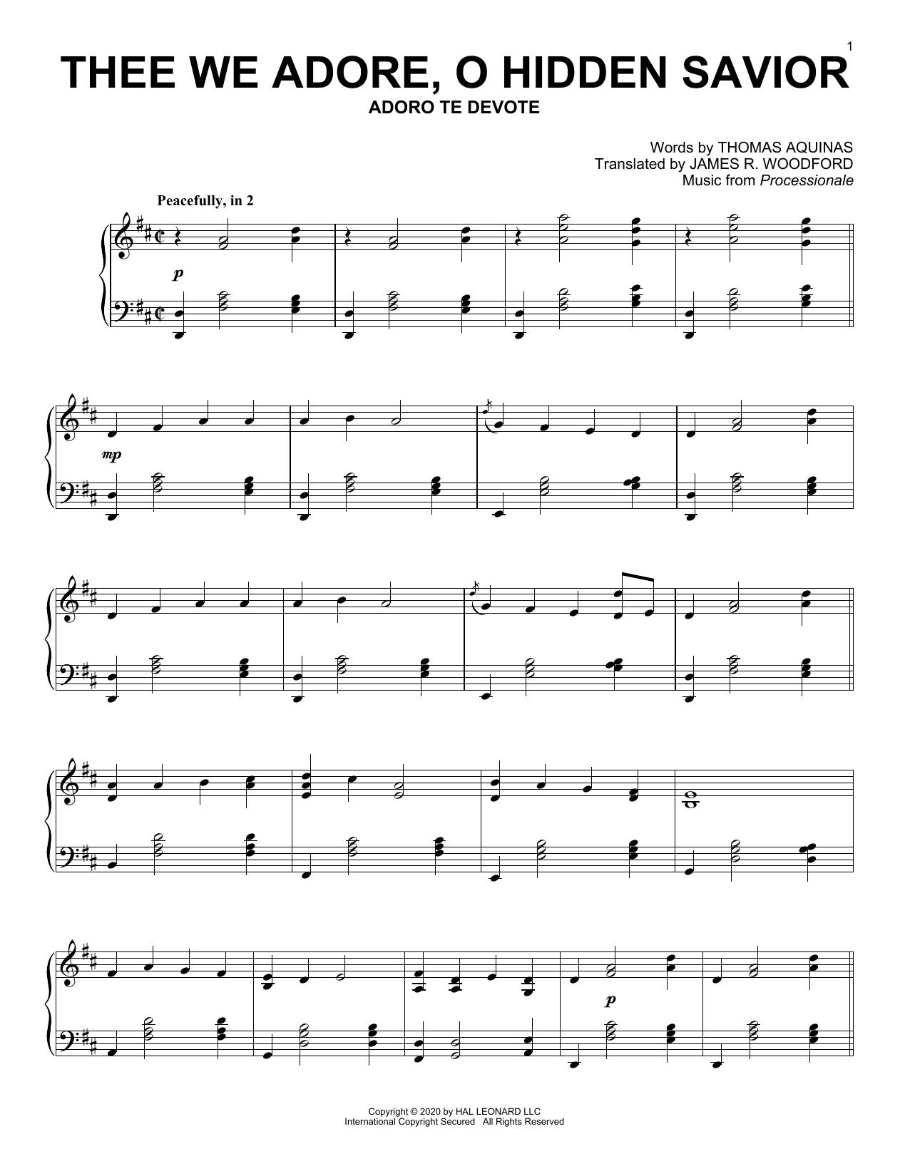 Thee We Adore, O Hidden Savior (Piano Solo)