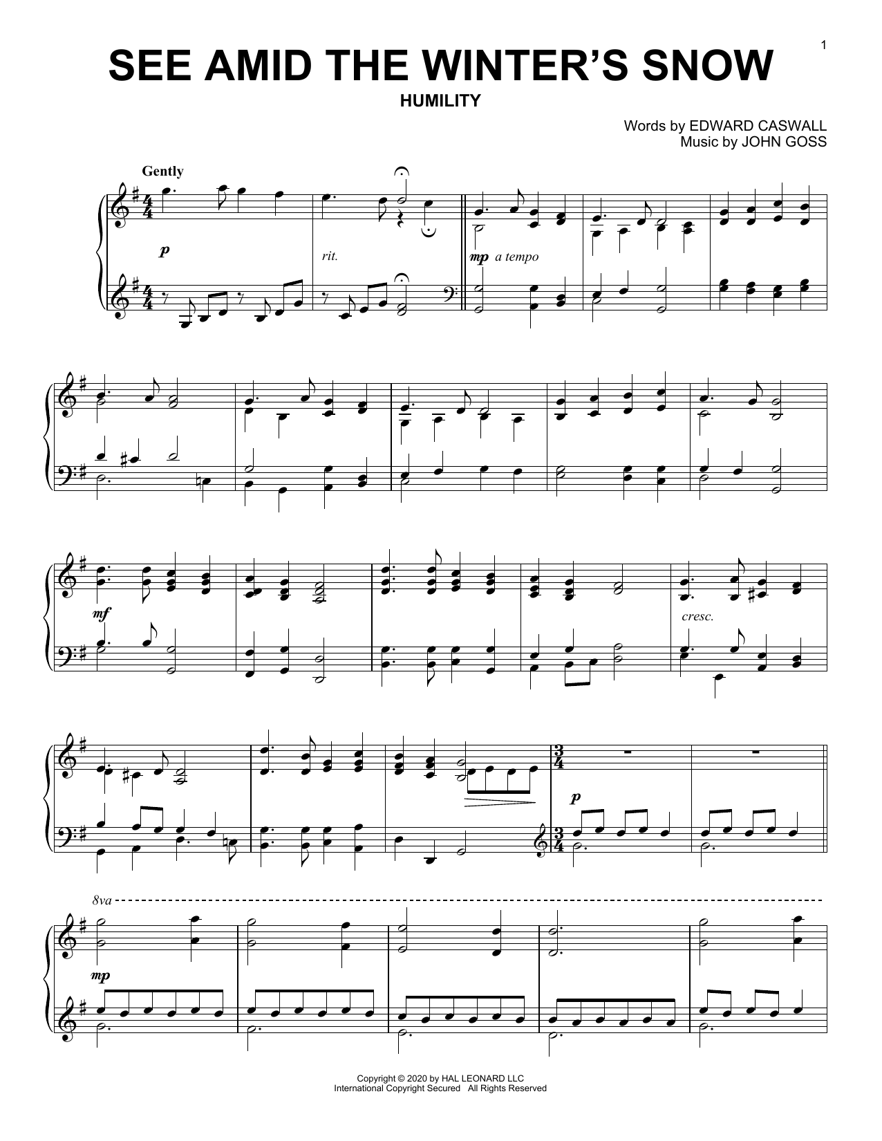 See Amid The Winter's Snow (Piano Solo)