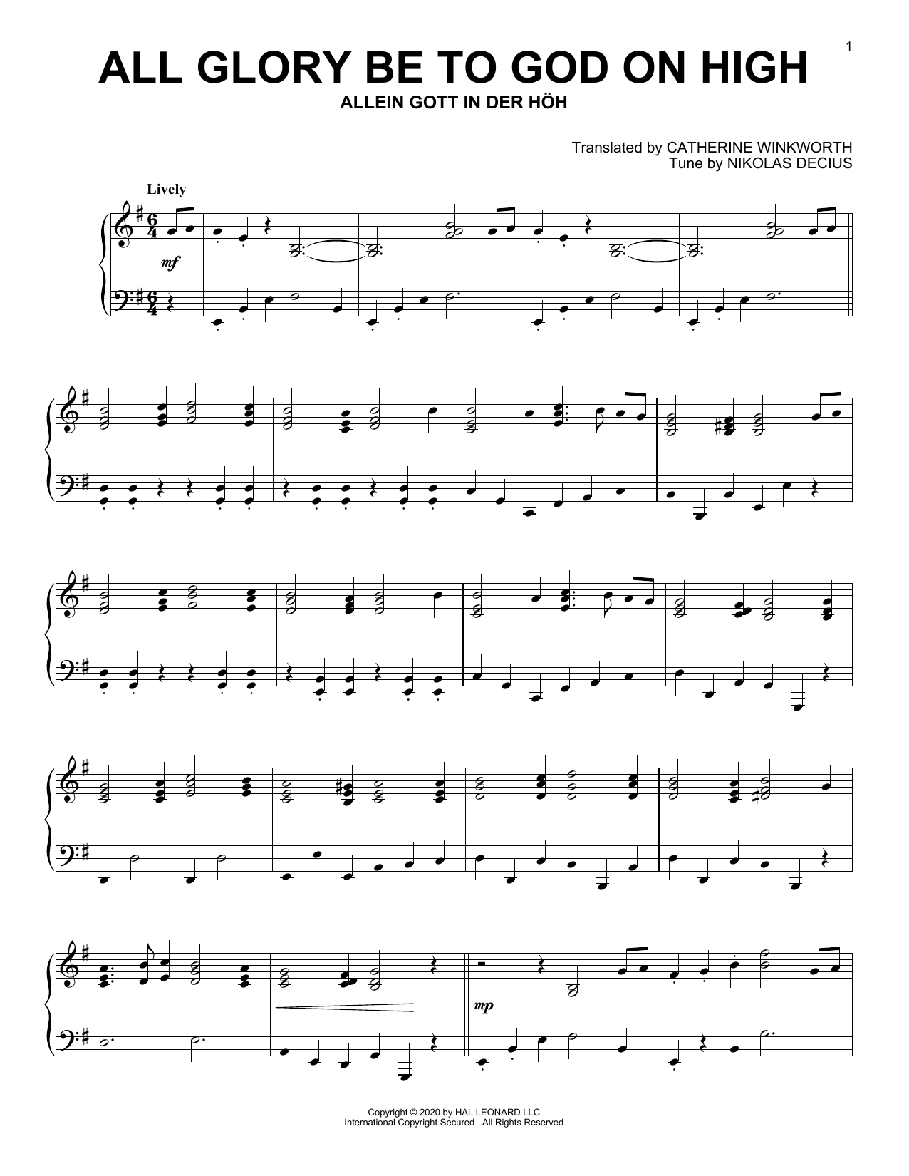 All Glory Be To God On High (Piano Solo)