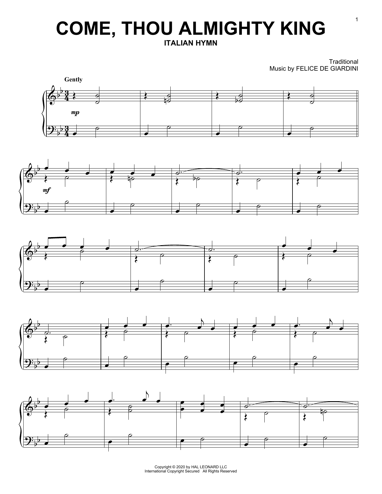 Come, Thou Almighty King (Piano Solo)