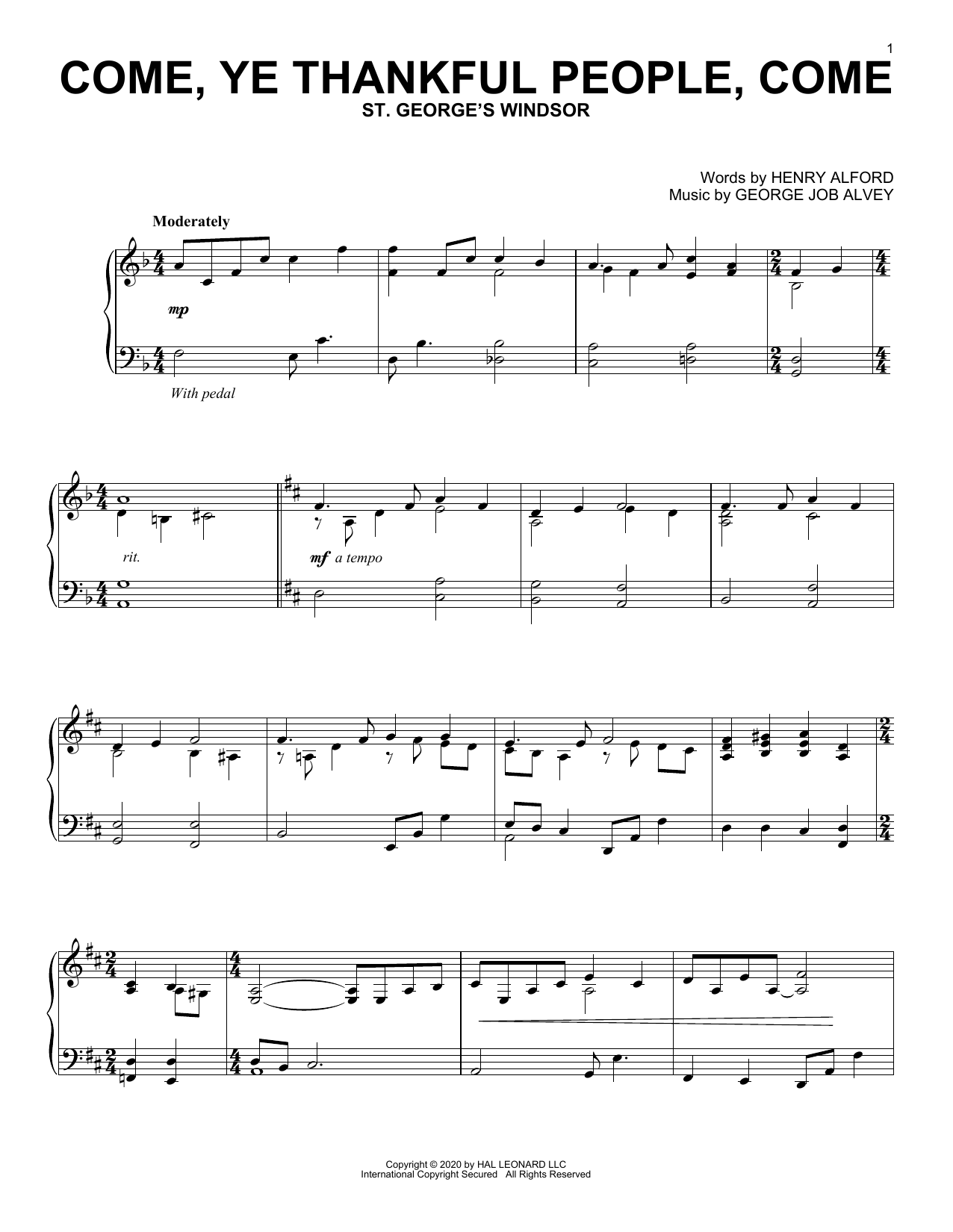 Come, Ye Thankful People, Come (Piano Solo)