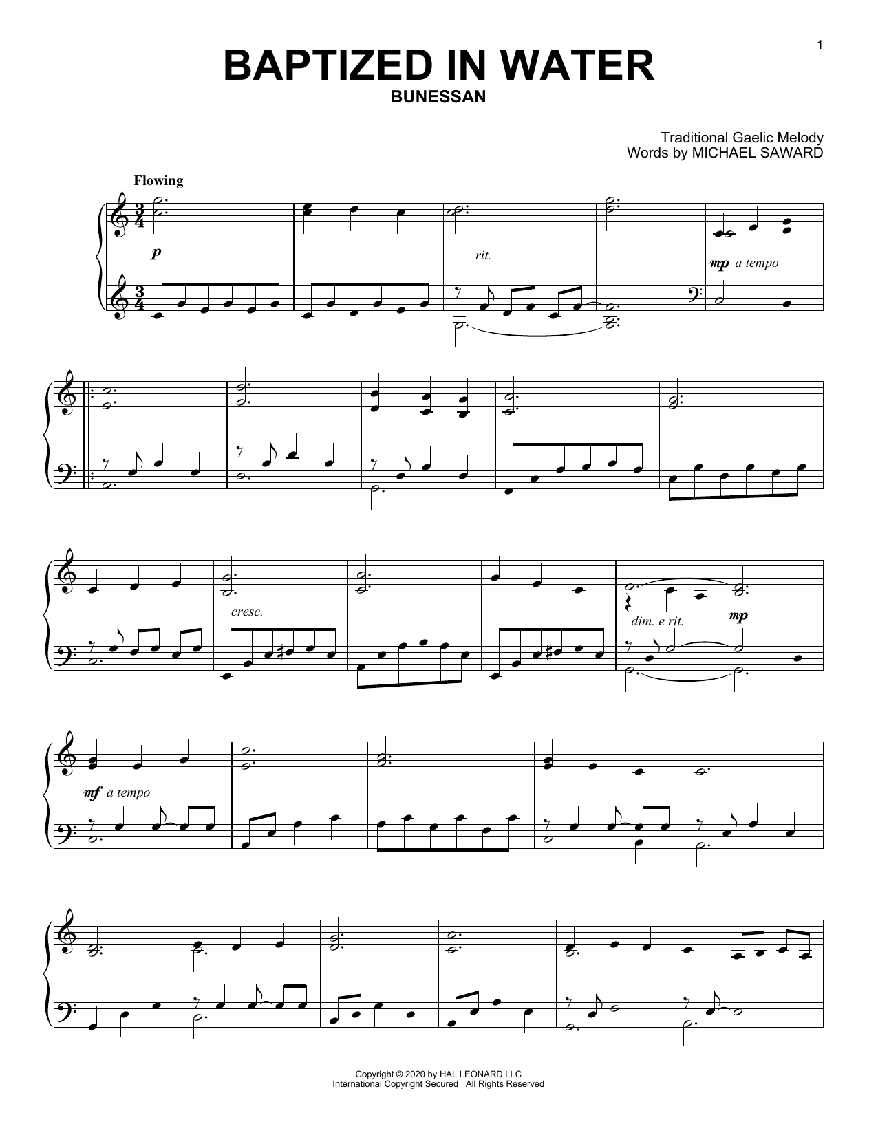 Baptized In Water (Piano Solo)