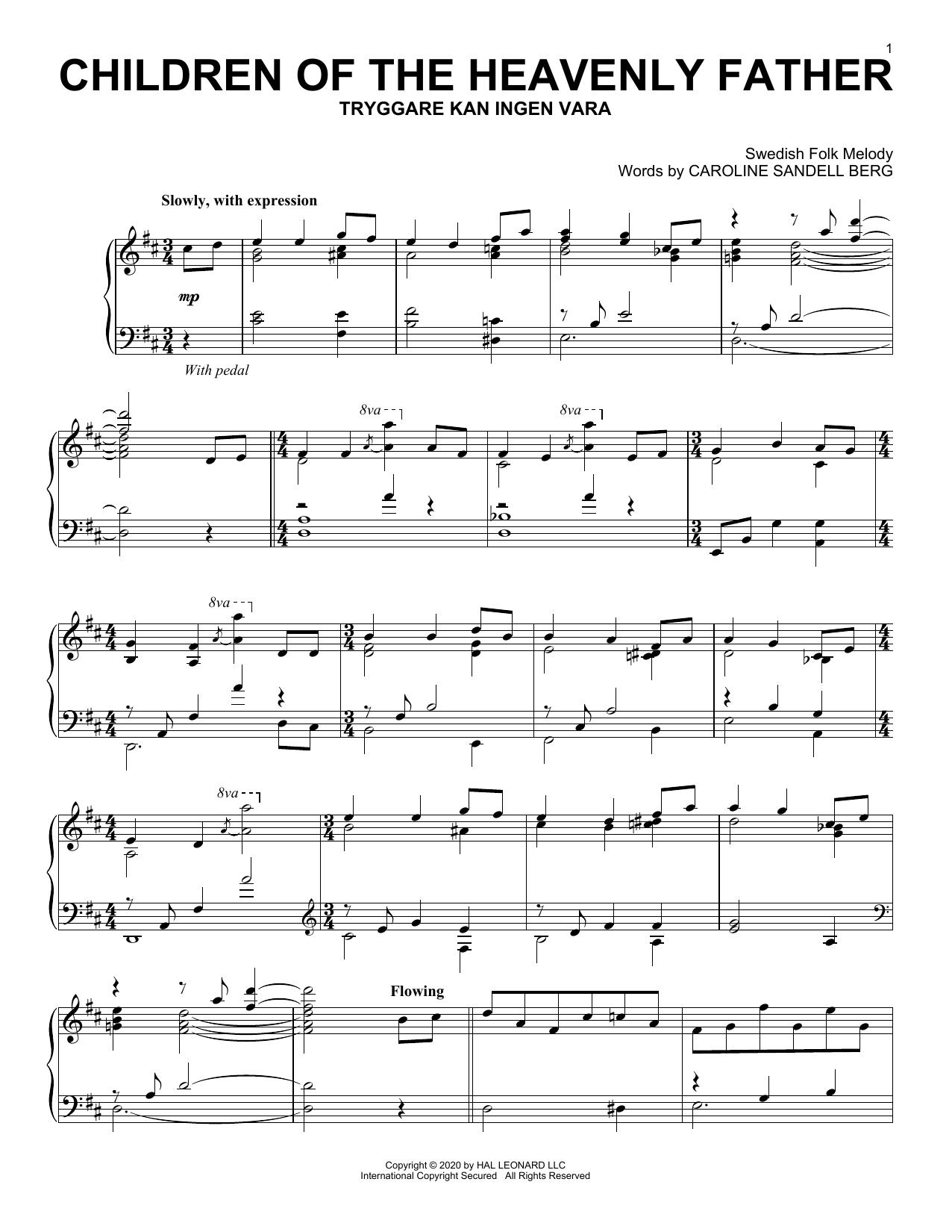 Children Of The Heavenly Father (Piano Solo)