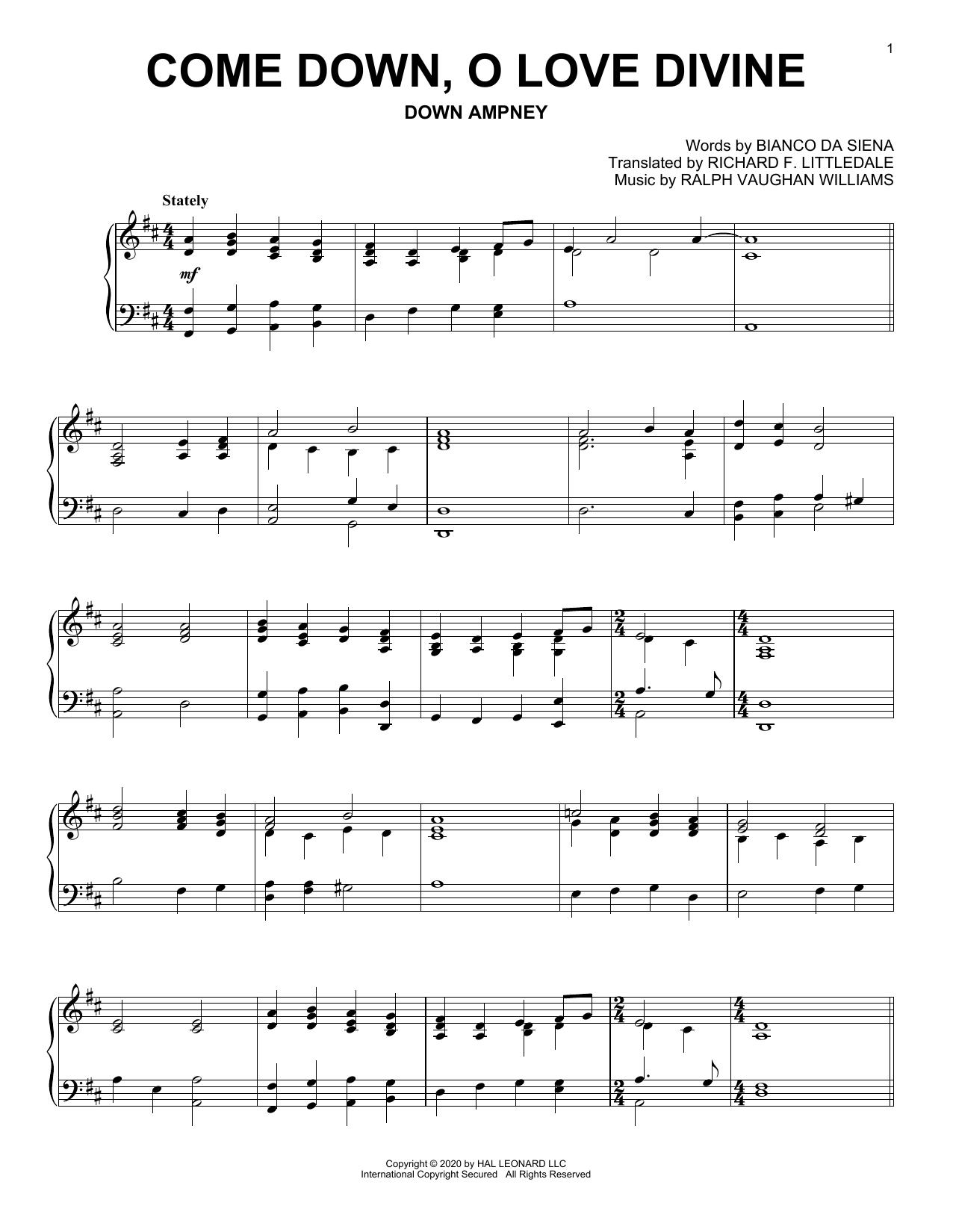 Come Down, O Love Divine (Piano Solo)