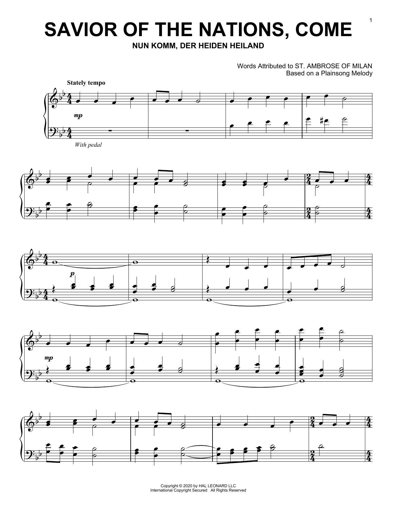 Savior Of The Nations, Come (Piano Solo)