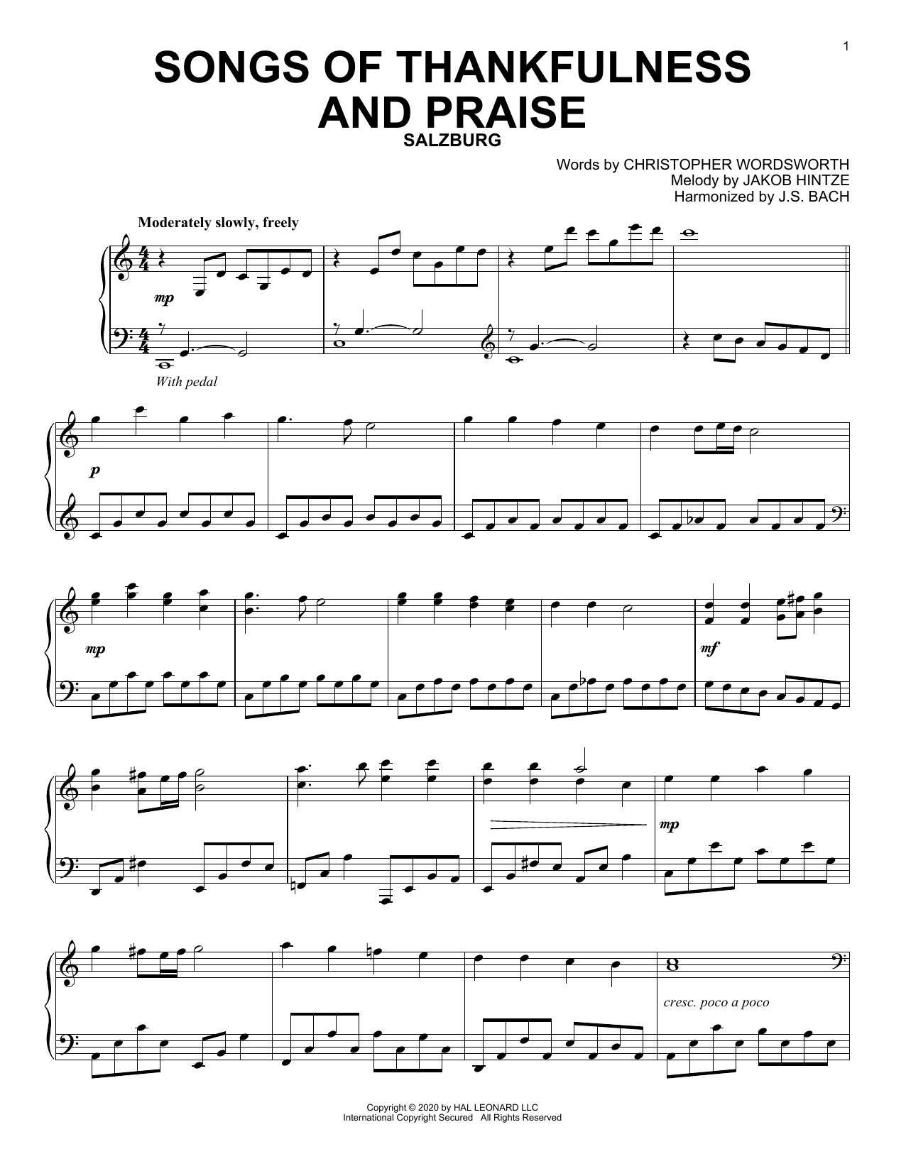 Songs Of Thankfulness And Praise (Piano Solo)